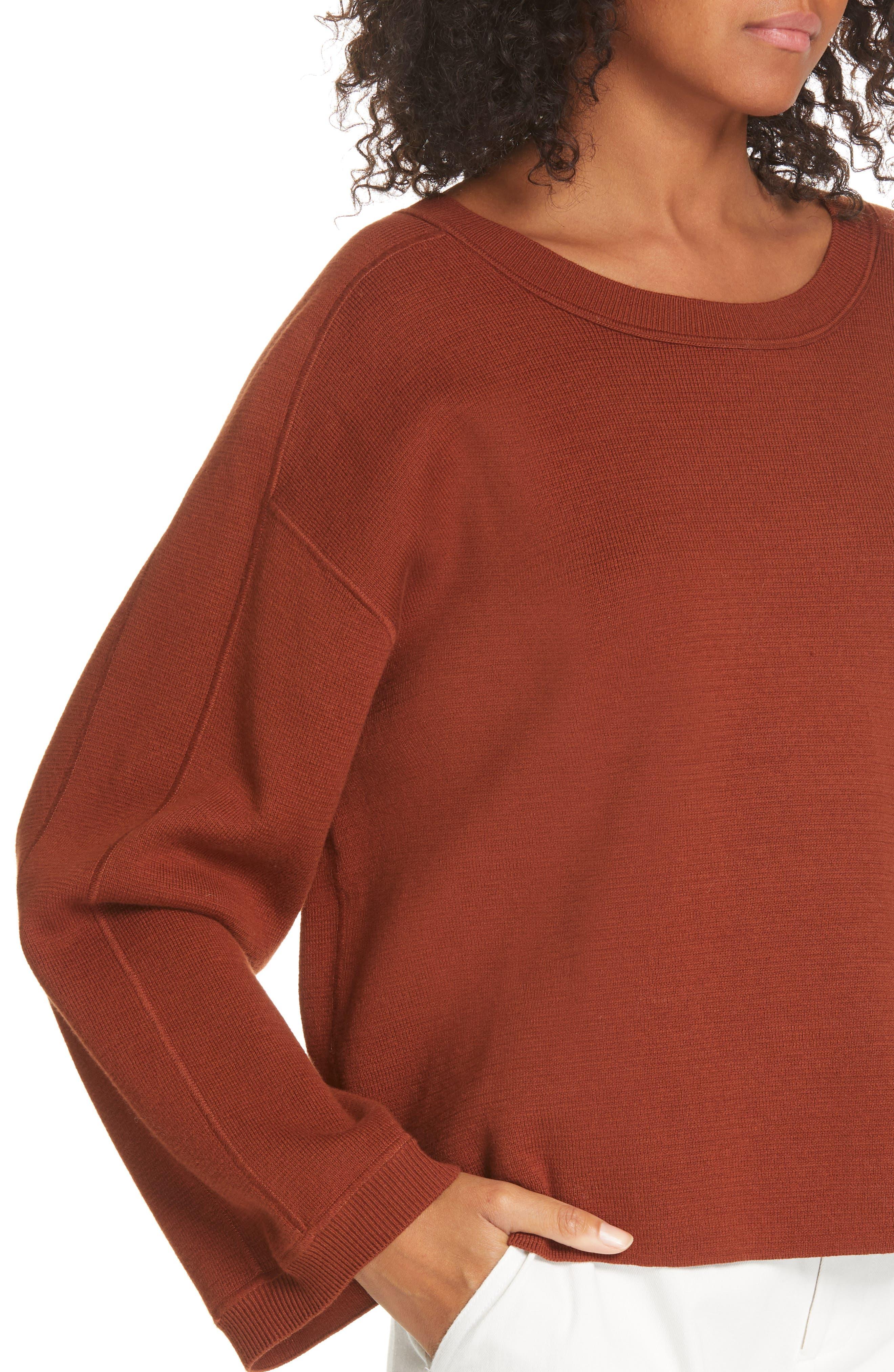 Cropped Sweater,                             Alternate thumbnail 4, color,                             CANYON OAK