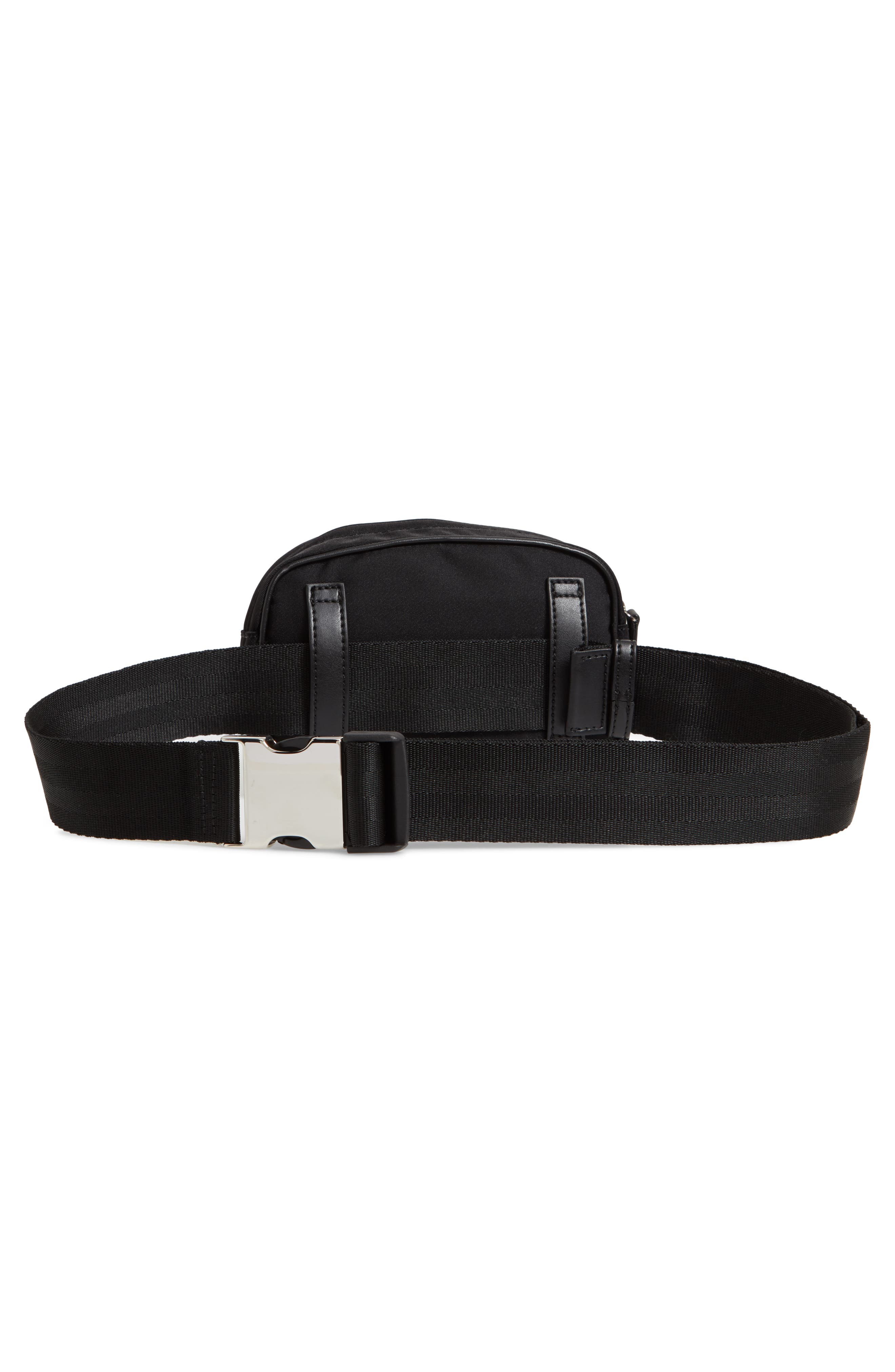 Nylon Convertible Belt Bag,                             Alternate thumbnail 4, color,                             BLACK/ SILVER