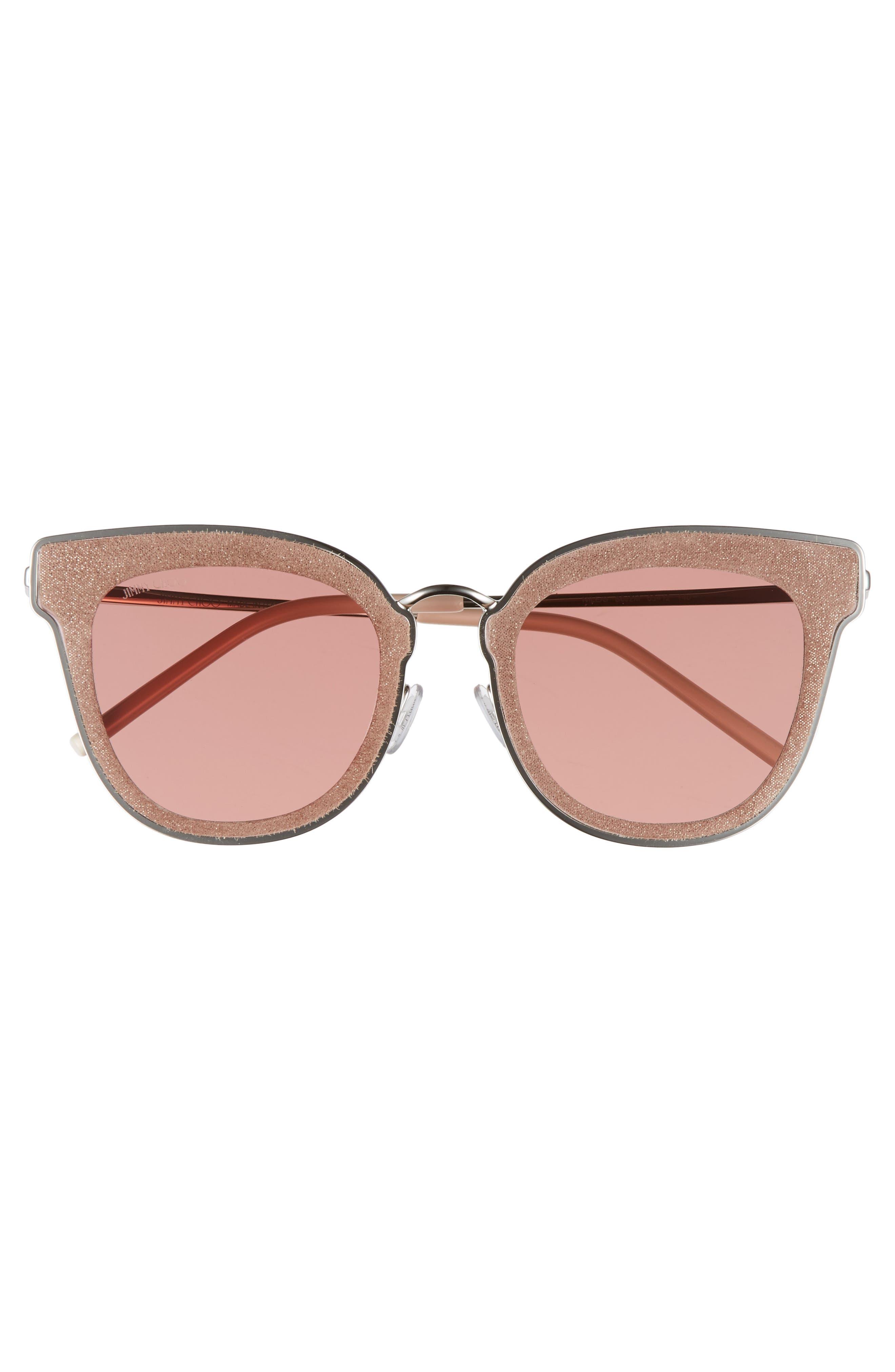 Niles 63mm Oversize Cat Eye Sunglasses,                             Alternate thumbnail 3, color,                             SILVER BEIGE