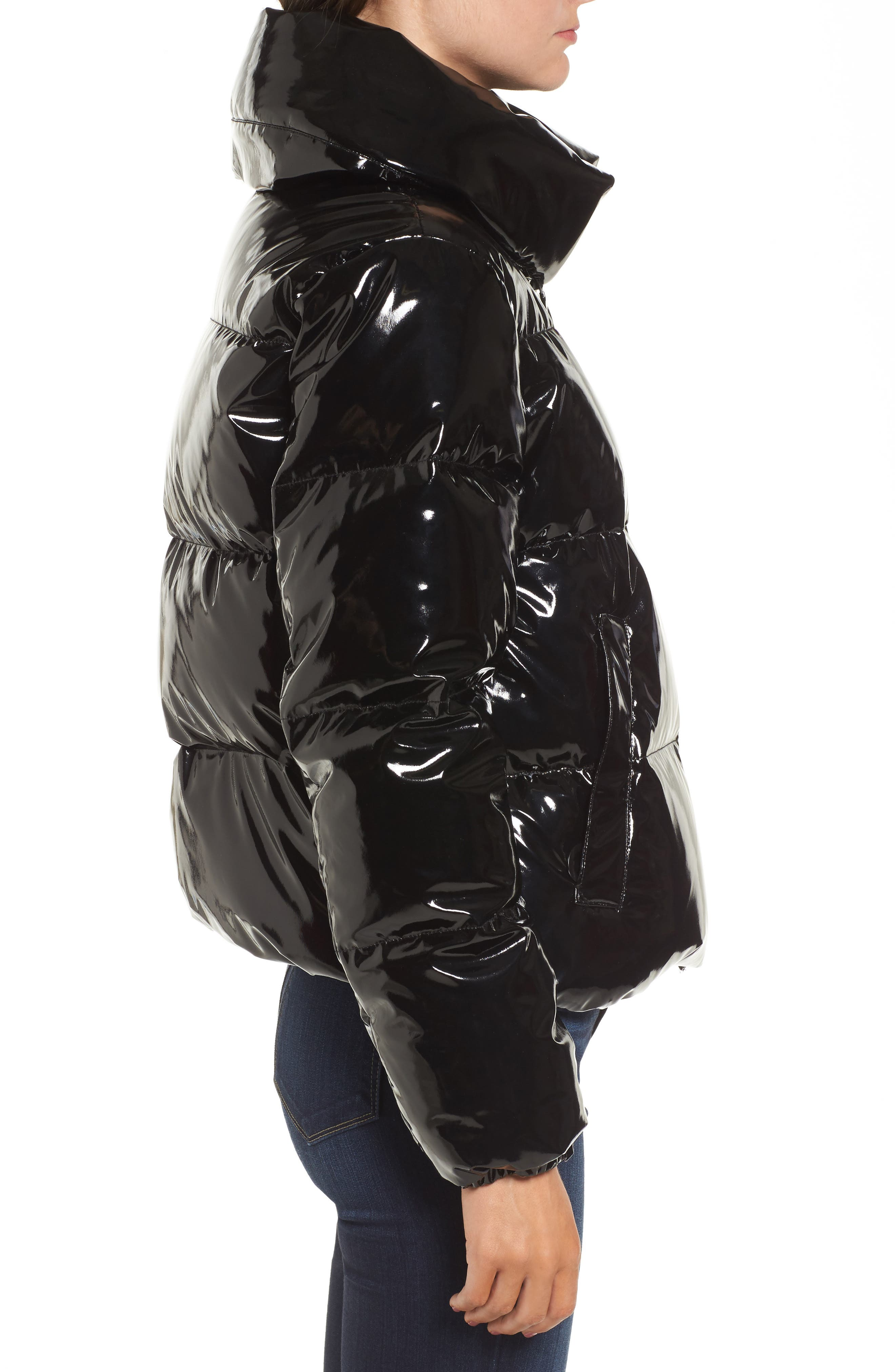 Shiny Puffer Jacket,                             Alternate thumbnail 3, color,                             001