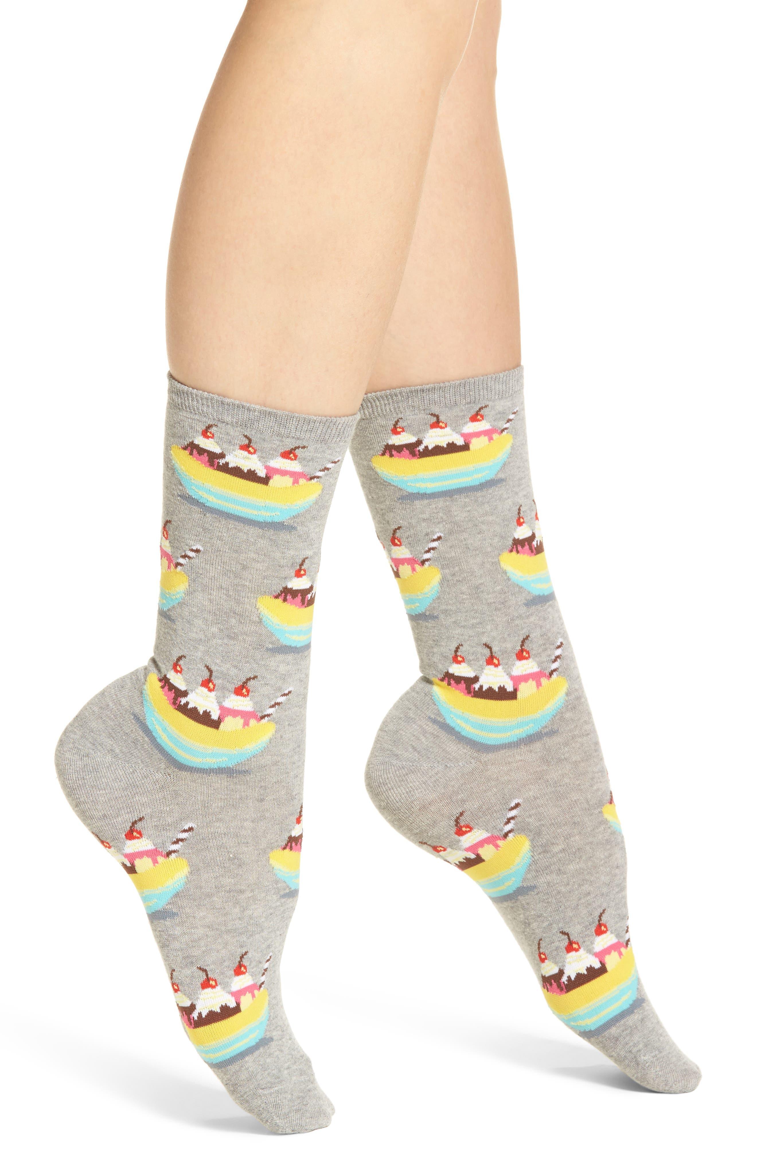 Banana Splits Crew Socks,                         Main,                         color, 051