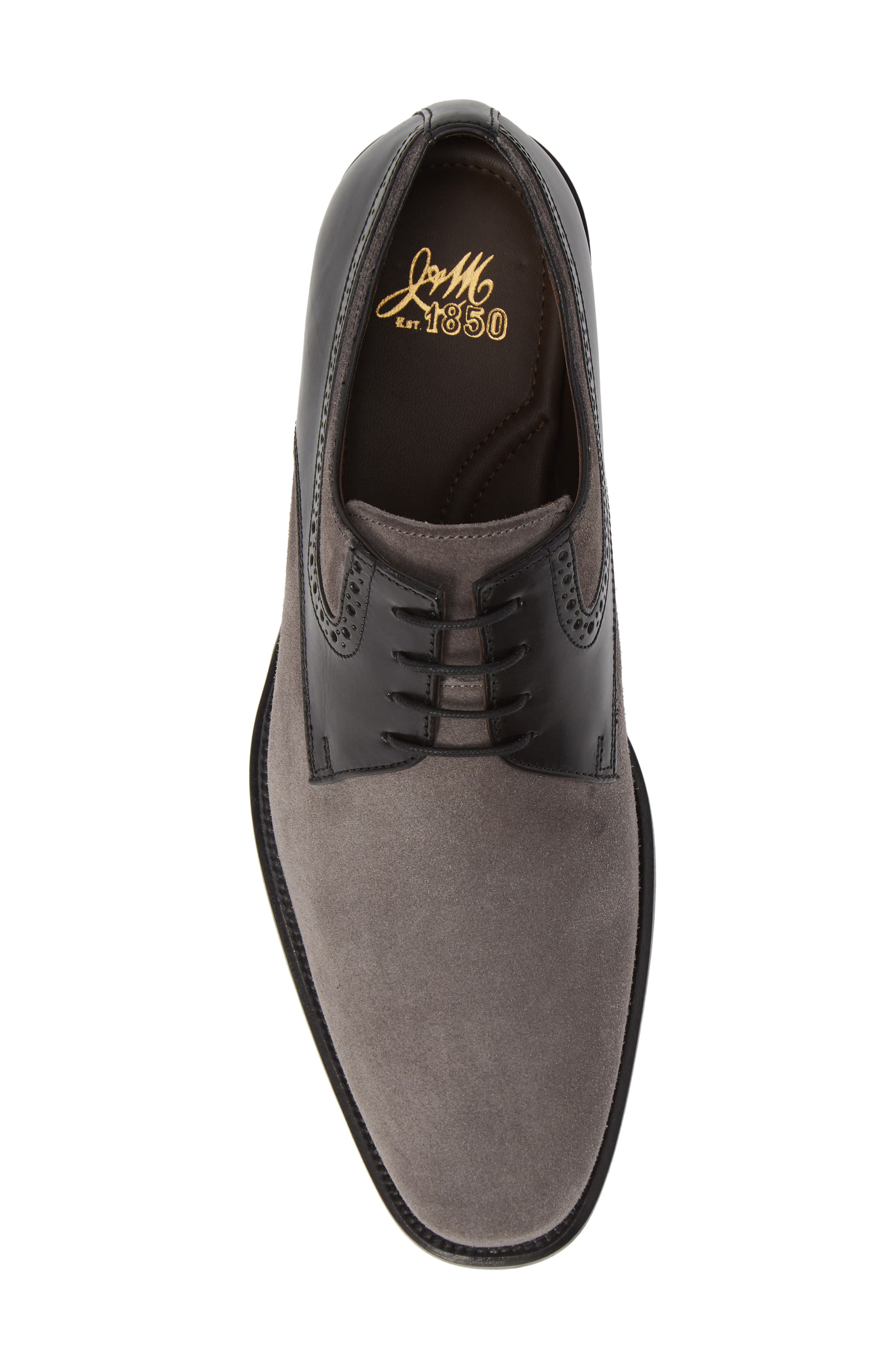 Maxwell Plain Toe Derby,                             Alternate thumbnail 5, color,                             GREY SUEDE