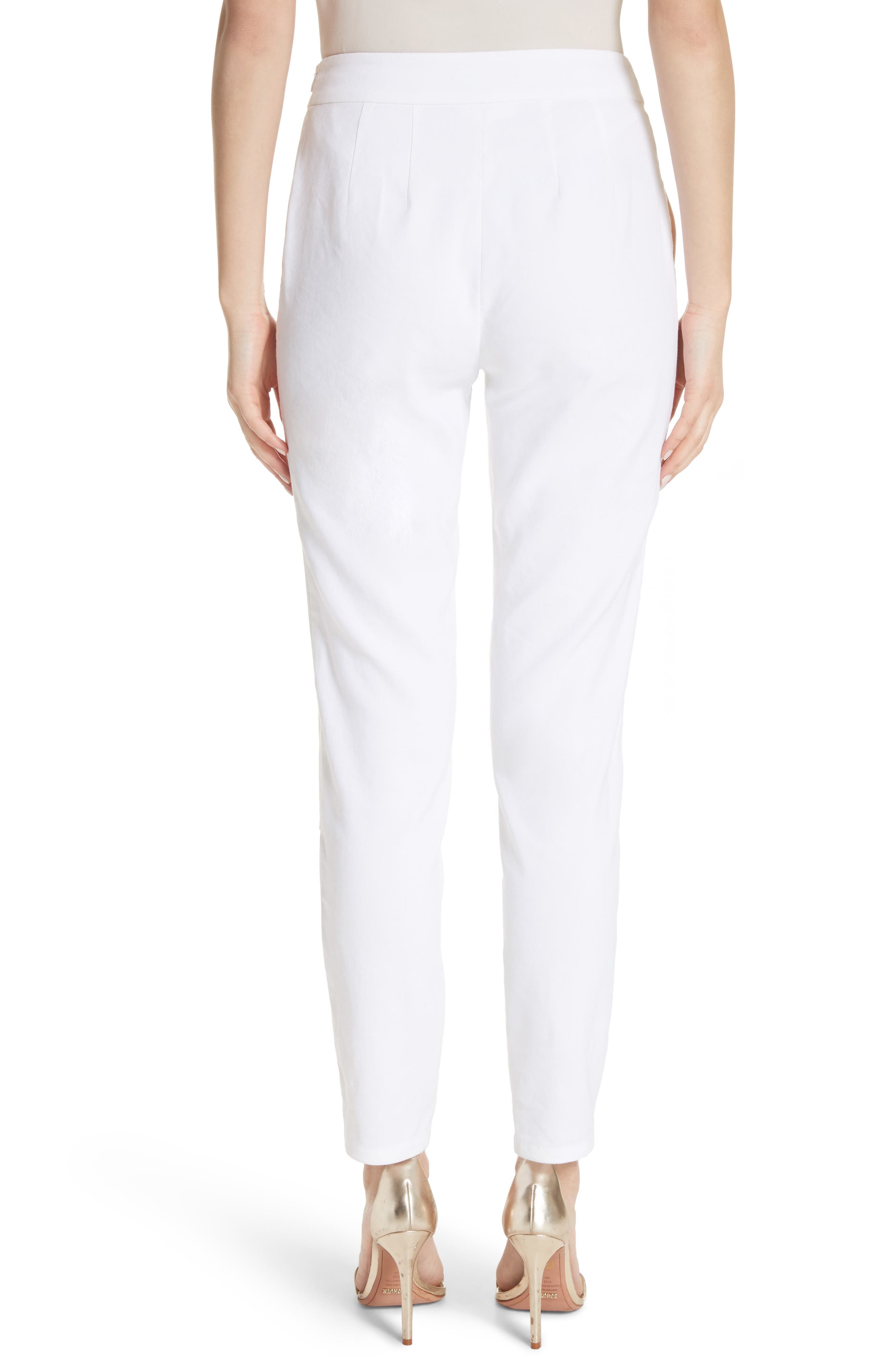 Sheer Inset Stretch Twill Pants,                             Alternate thumbnail 2, color,                             BIANCO