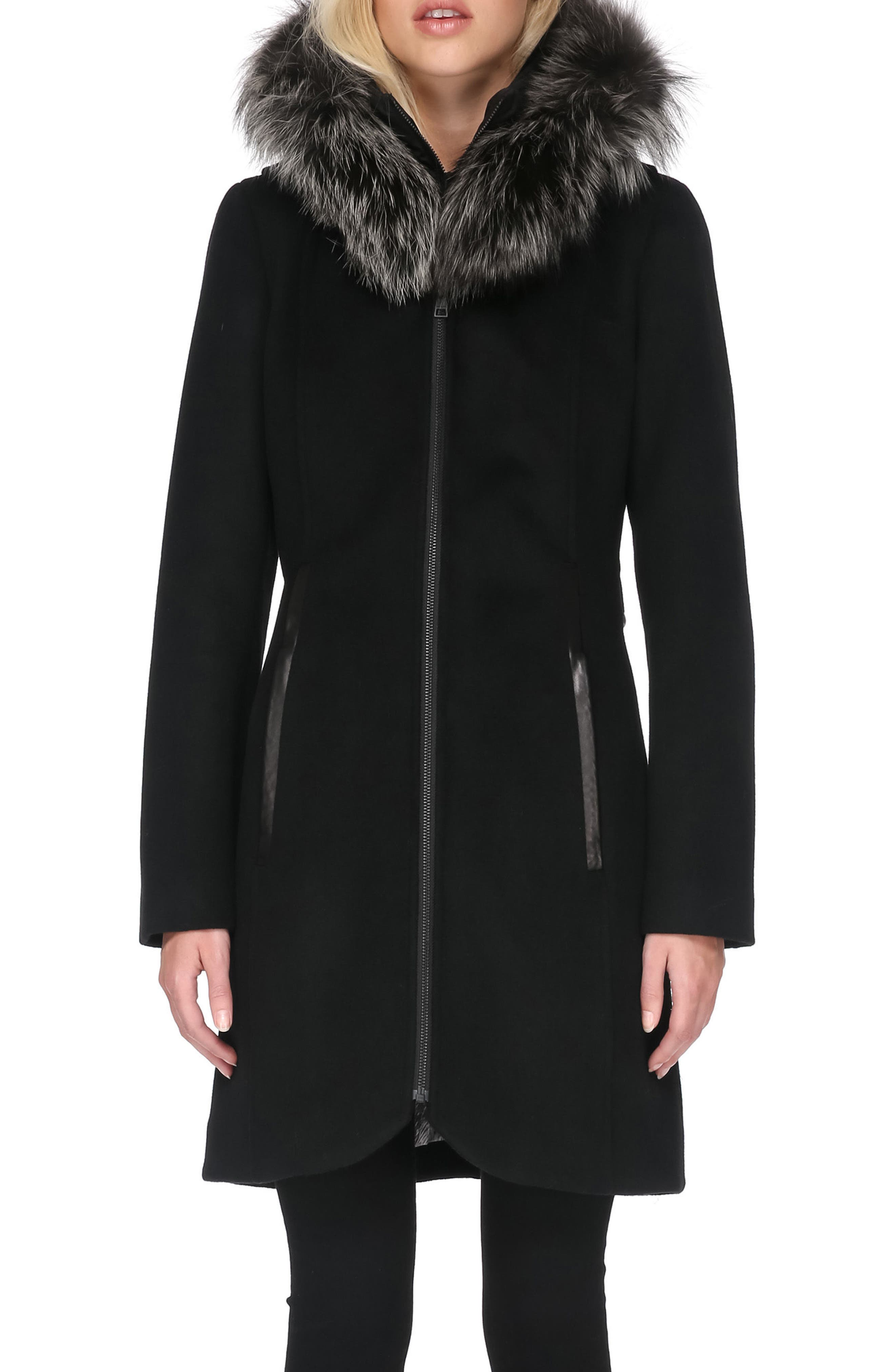Hooded Wool Blend Coat with Detachable Genuine Fox Fur,                             Alternate thumbnail 3, color,                             001
