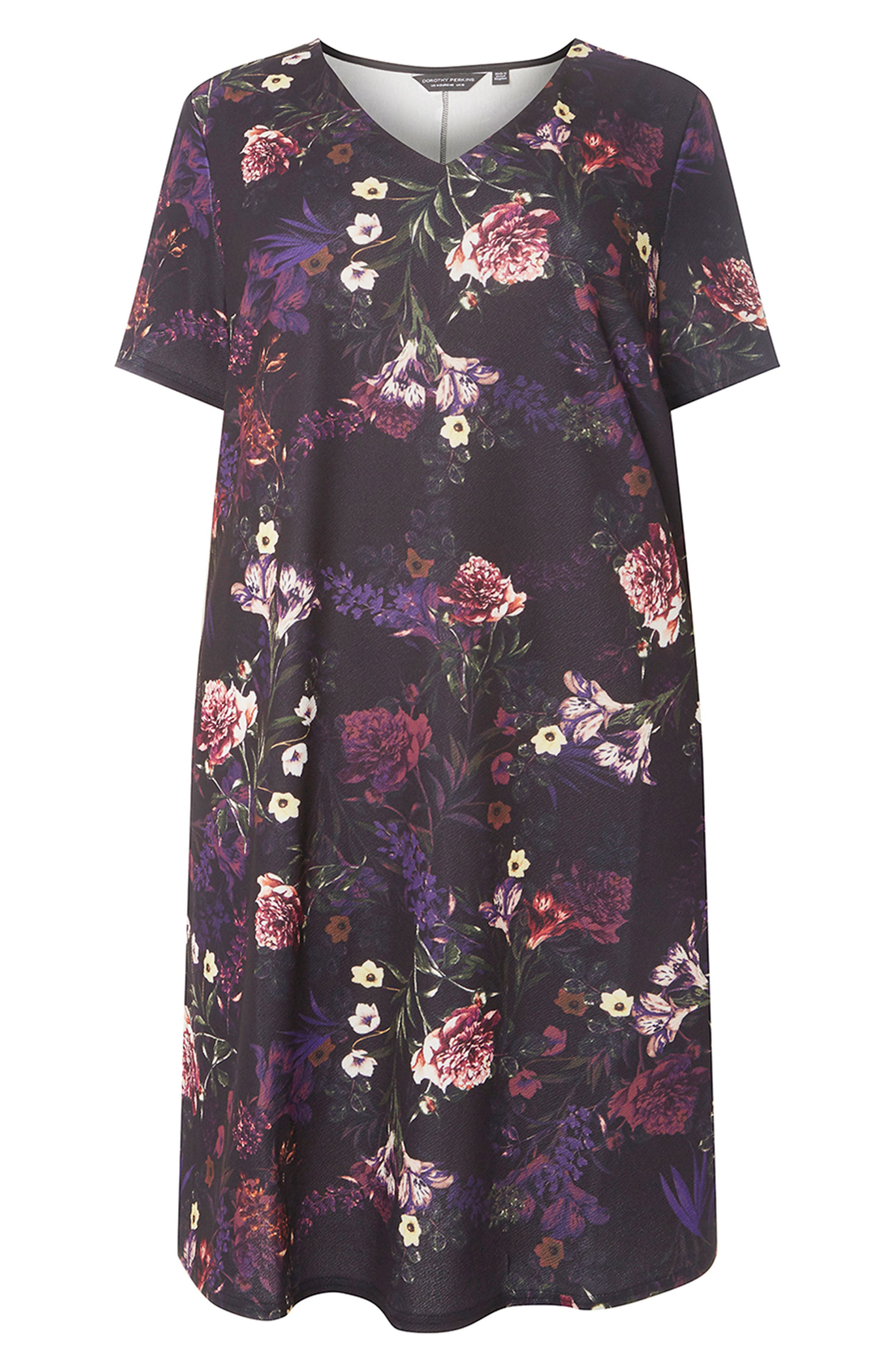 Floral Print Shift Dress,                             Alternate thumbnail 4, color,                             500