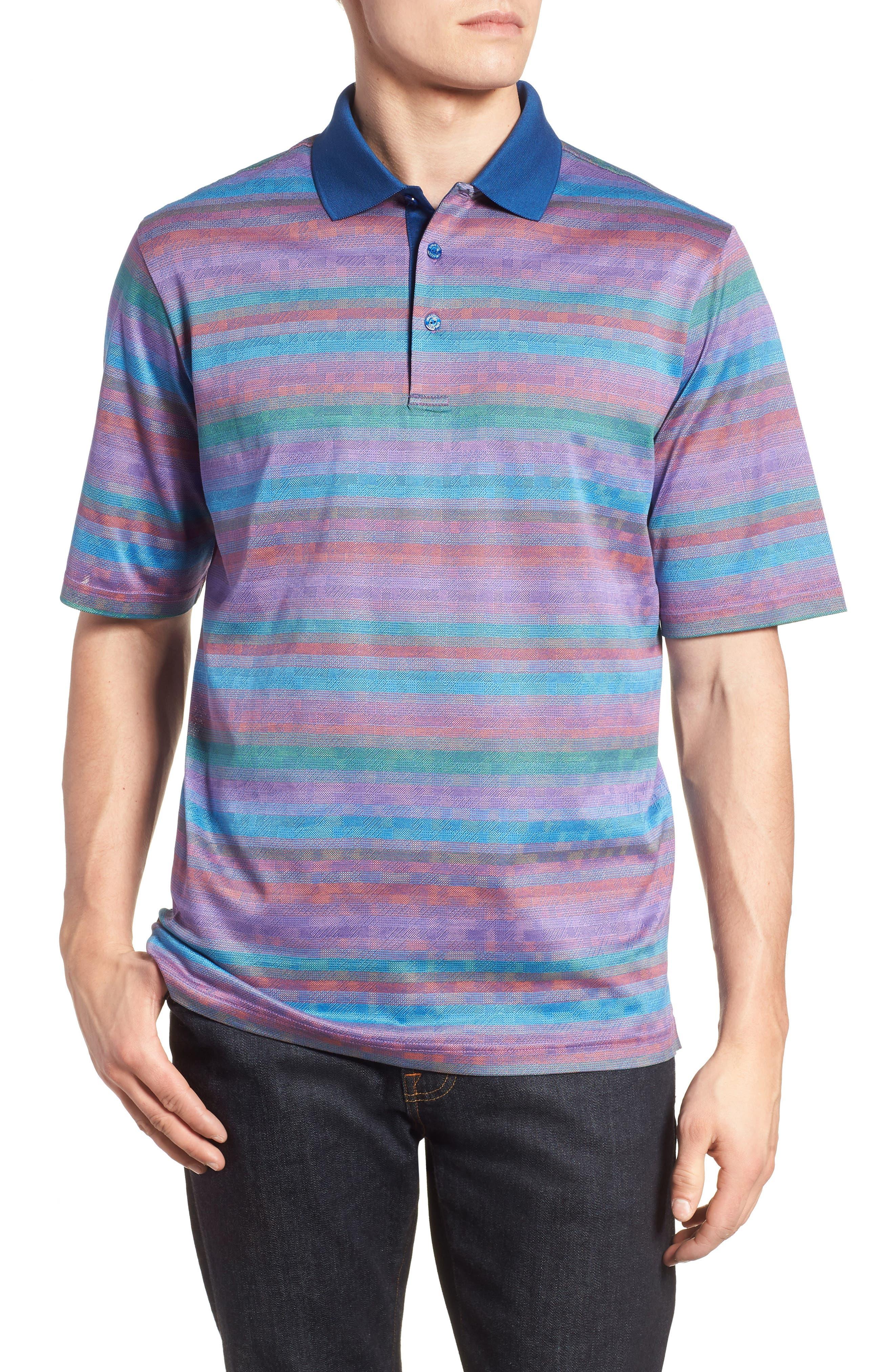 Stripe Mercerized Cotton Polo,                         Main,                         color, ORCHID