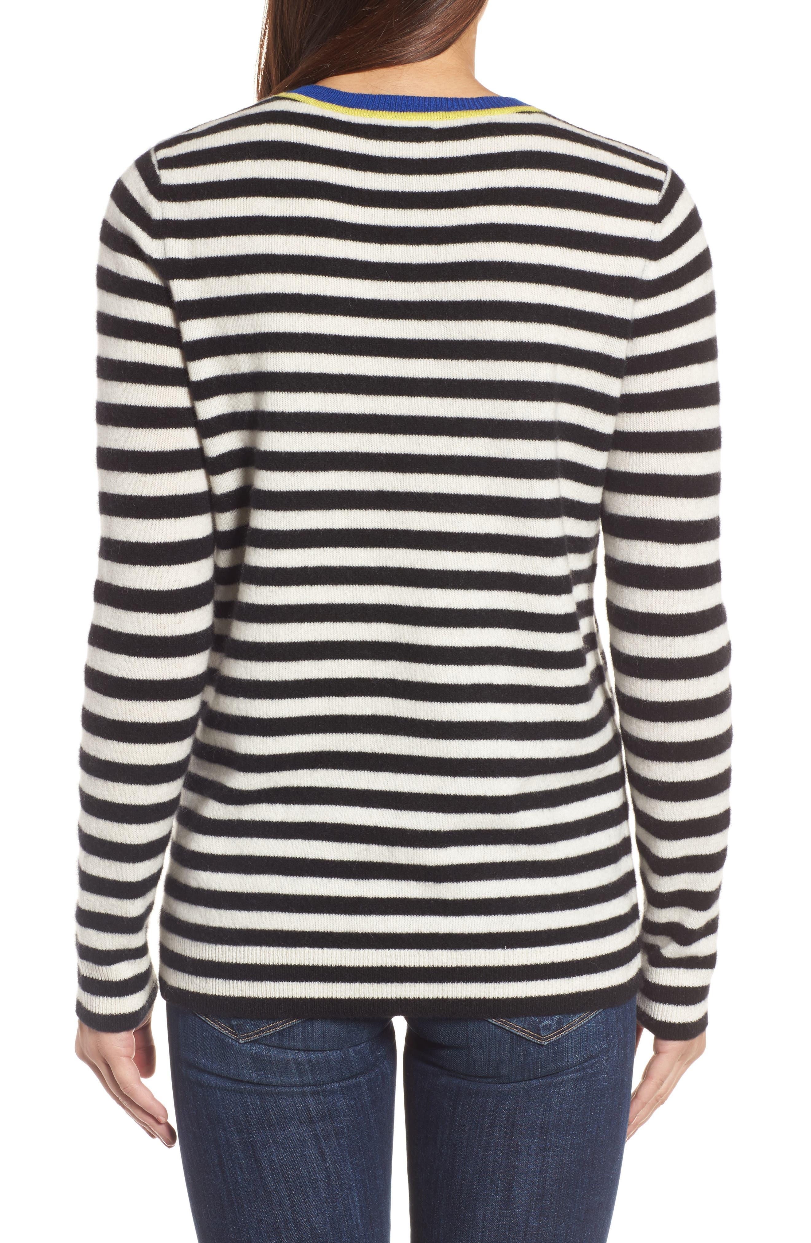 Stripe Cashmere Sweater,                             Alternate thumbnail 2, color,                             001