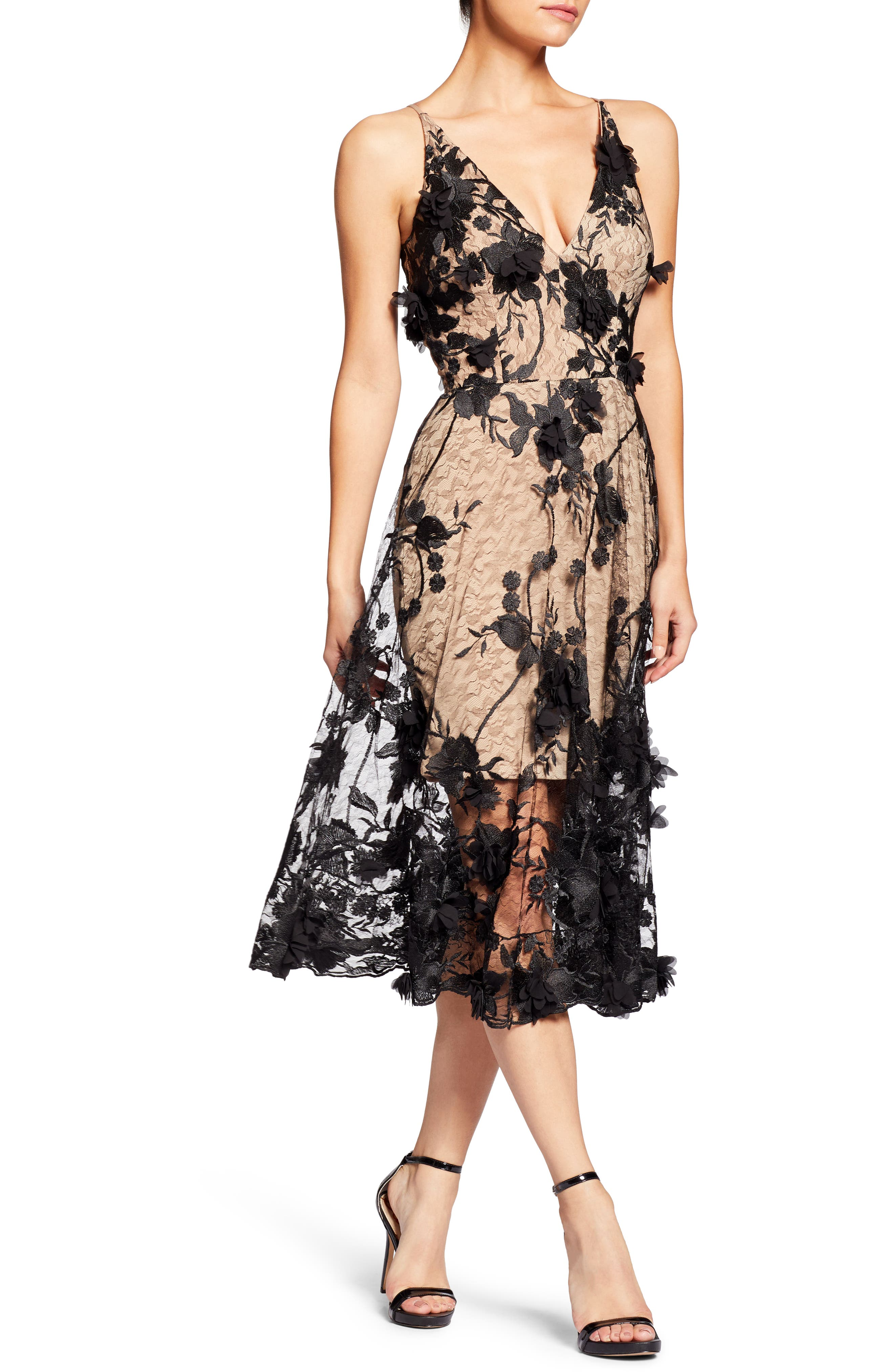 Audrey Embroidered Fit & Flare Dress,                         Main,                         color, BLACK/ NUDE