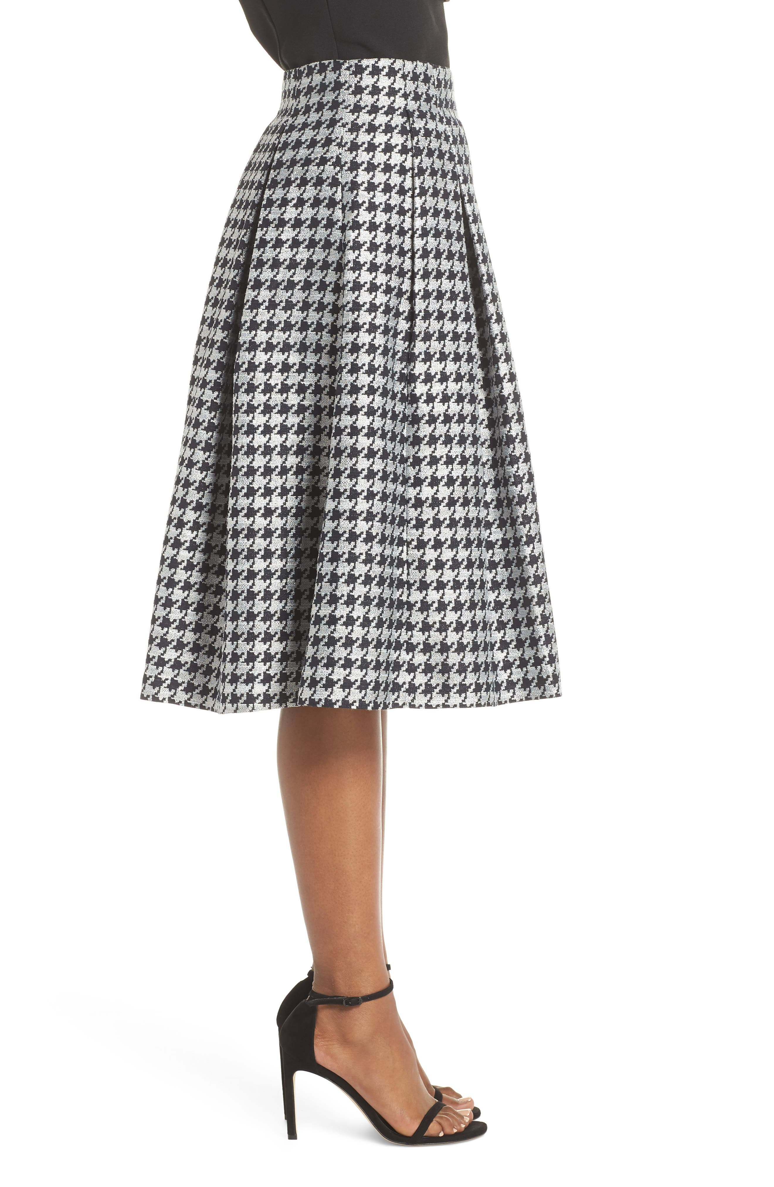 Houndstooth Pleated Skirt,                             Alternate thumbnail 3, color,                             001