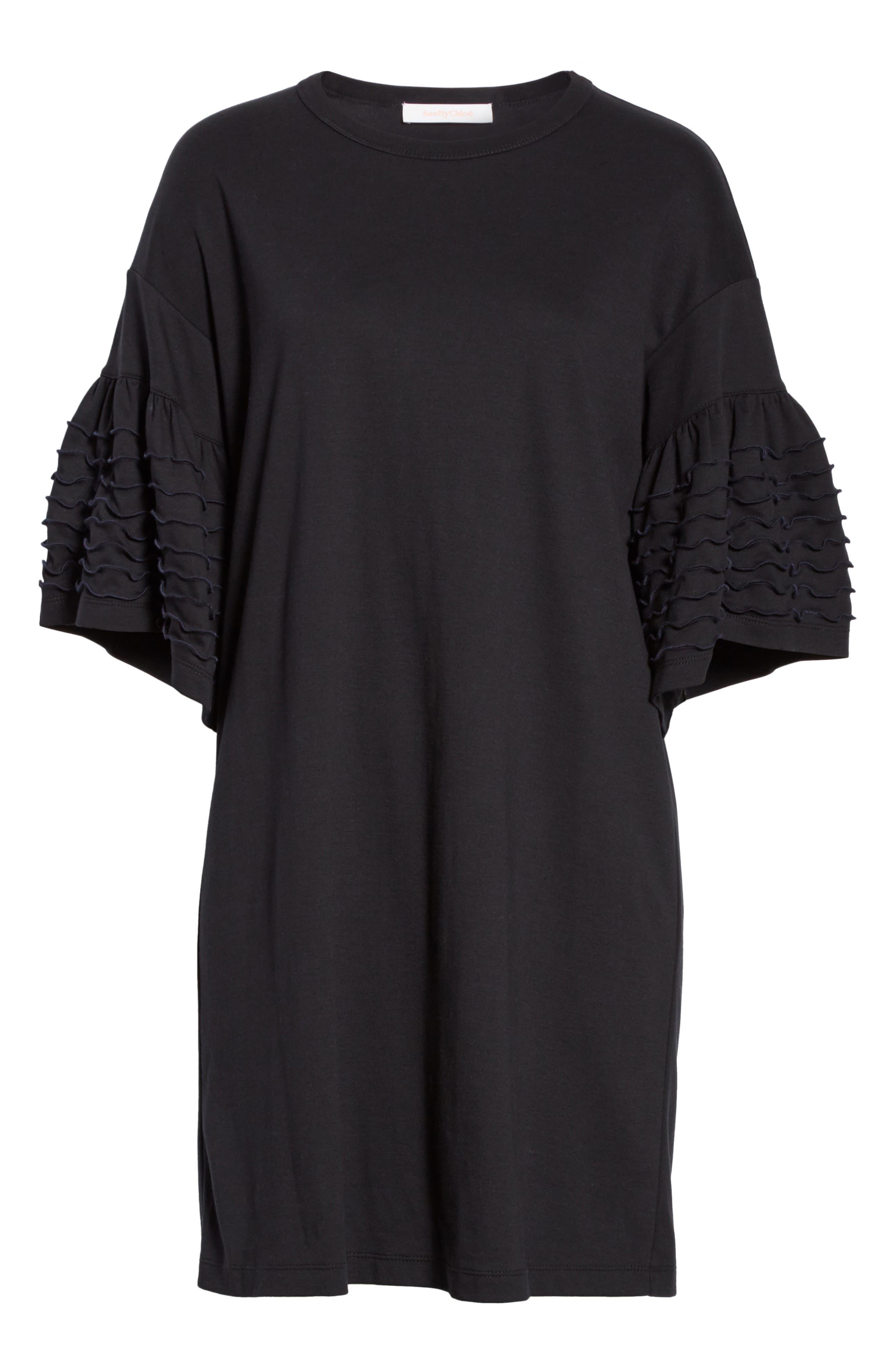 Ruffle Sleeve Cotton Shift Dress,                             Alternate thumbnail 6, color,                             001