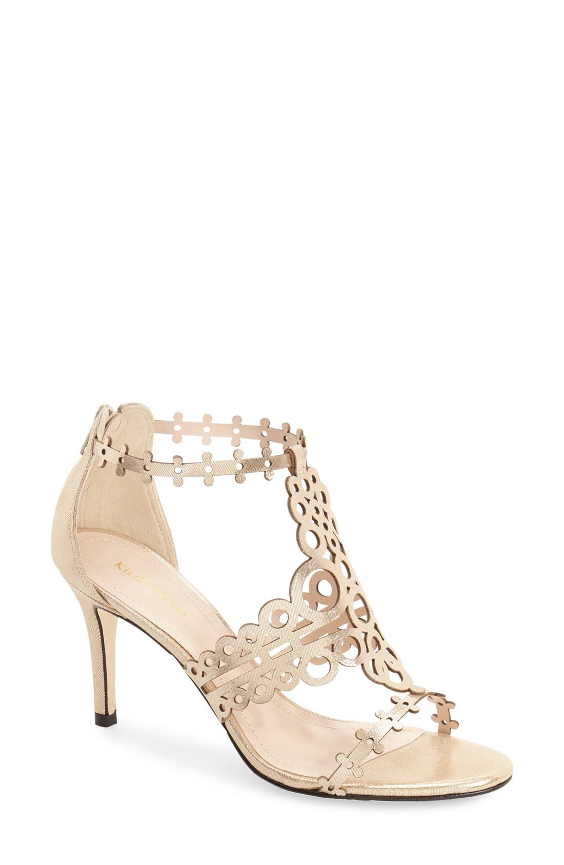 'Antonia' Laser Cut T-Strap Sandal,                             Main thumbnail 3, color,