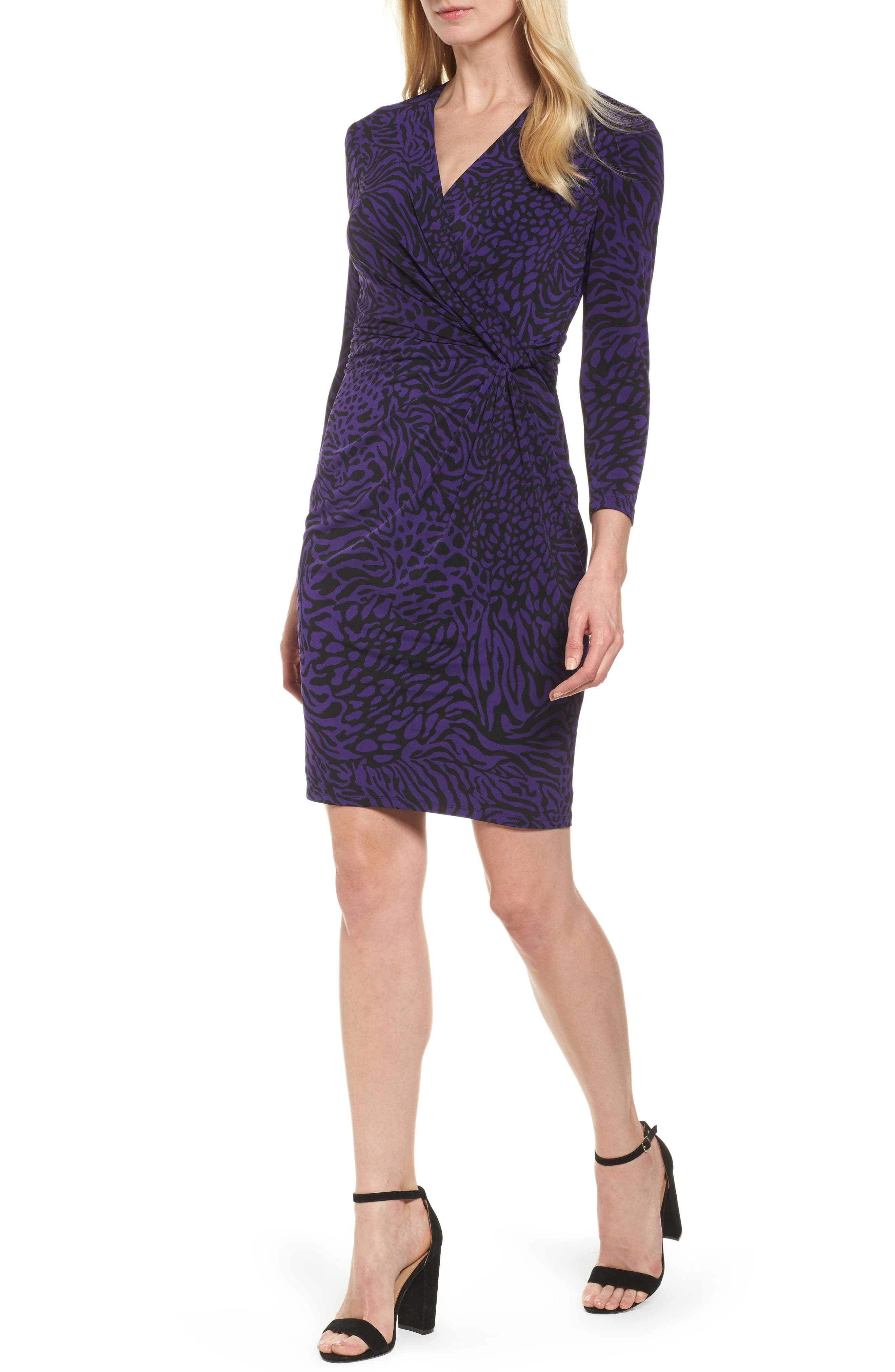 Animal Print Faux Wrap Dress,                         Main,                         color,