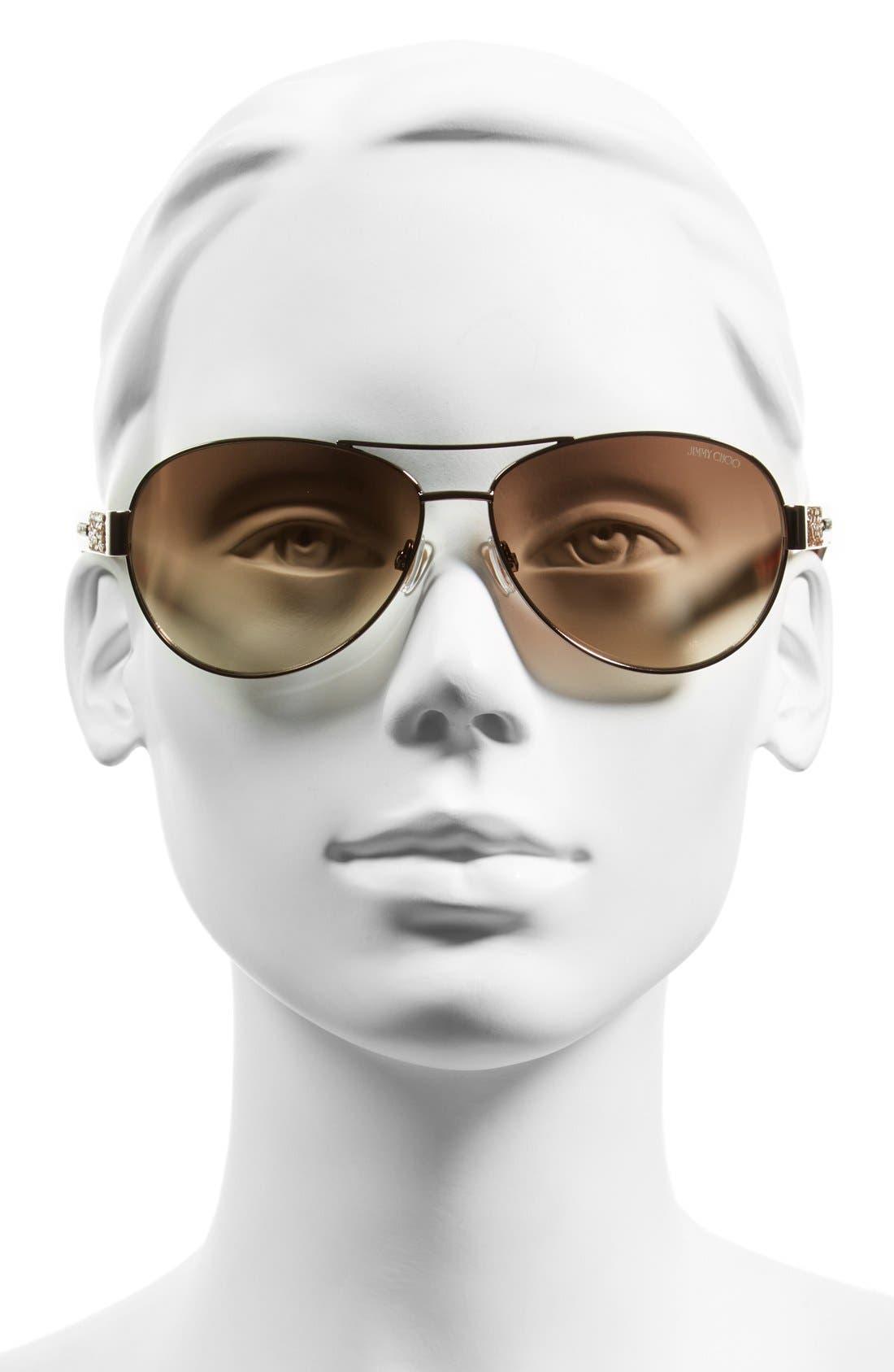 JIMMY CHOO,                             'Babas' 59mm Aviator Sunglasses,                             Alternate thumbnail 2, color,                             200