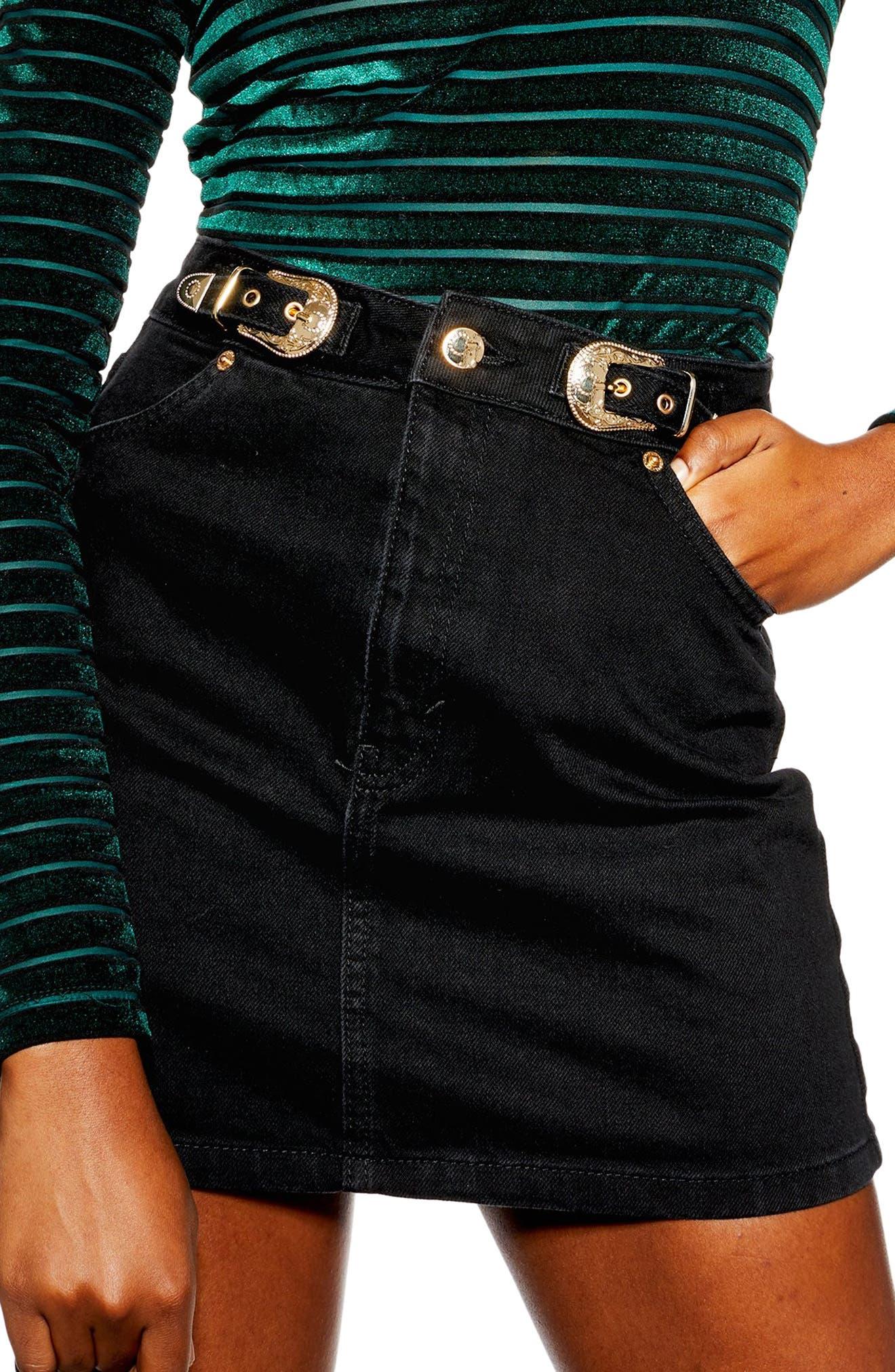 Topshop Buckle Denim Skirt, US (fits like 0) - Black