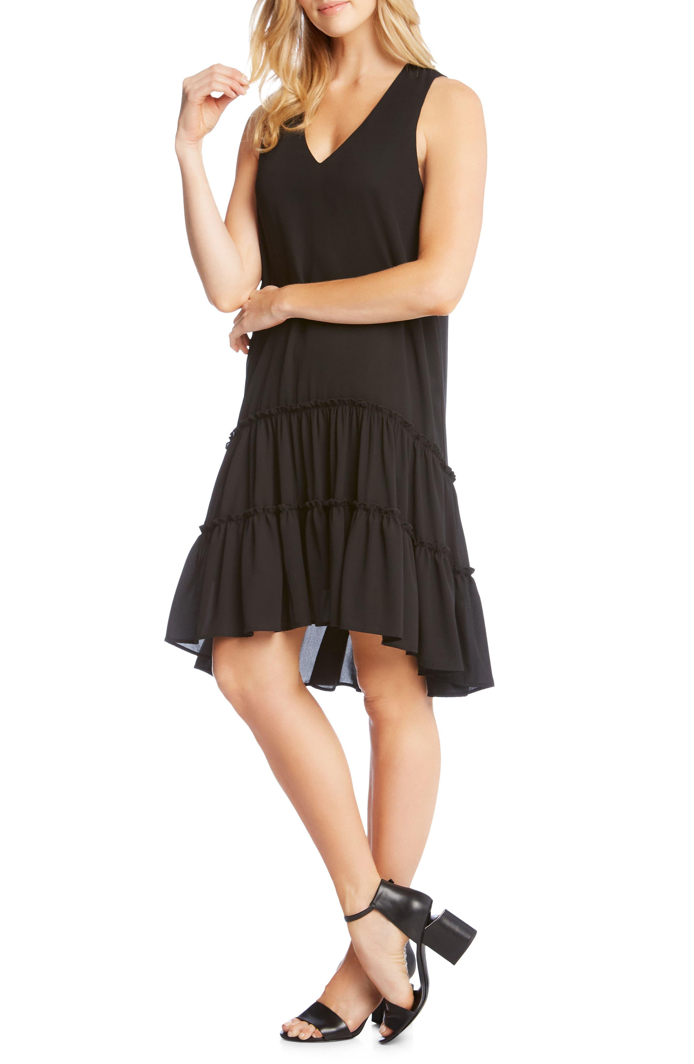 Double Ruffle Hem Crepe Dress,                             Alternate thumbnail 3, color,                             001