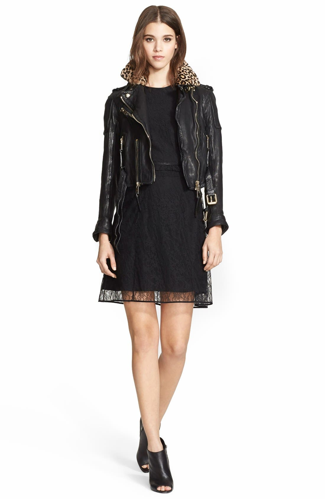 Leather Biker Jacket with Removable Genuine Shearling Collar,                             Alternate thumbnail 2, color,                             001
