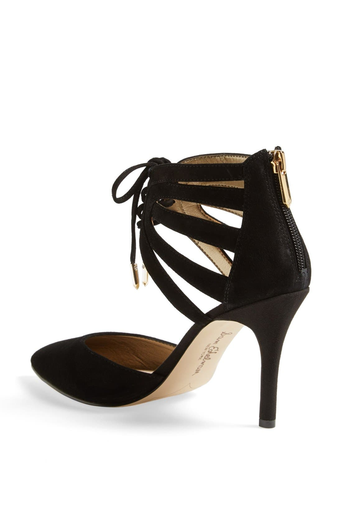 'Zachary' Cutout Ankle Cuff Suede Pump,                             Alternate thumbnail 4, color,                             001