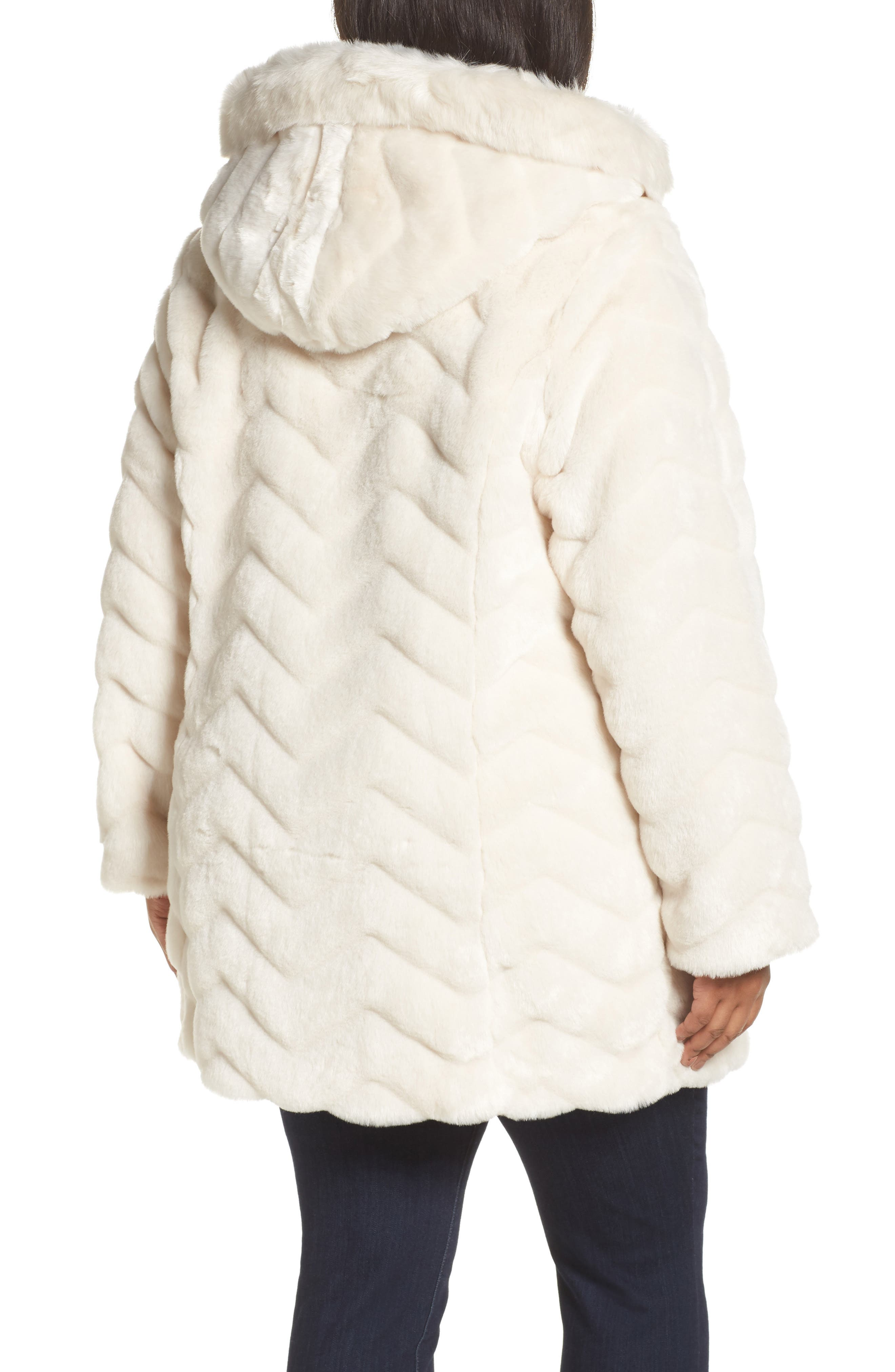 Hooded Chevron Faux Fur Coat,                             Alternate thumbnail 2, color,                             901