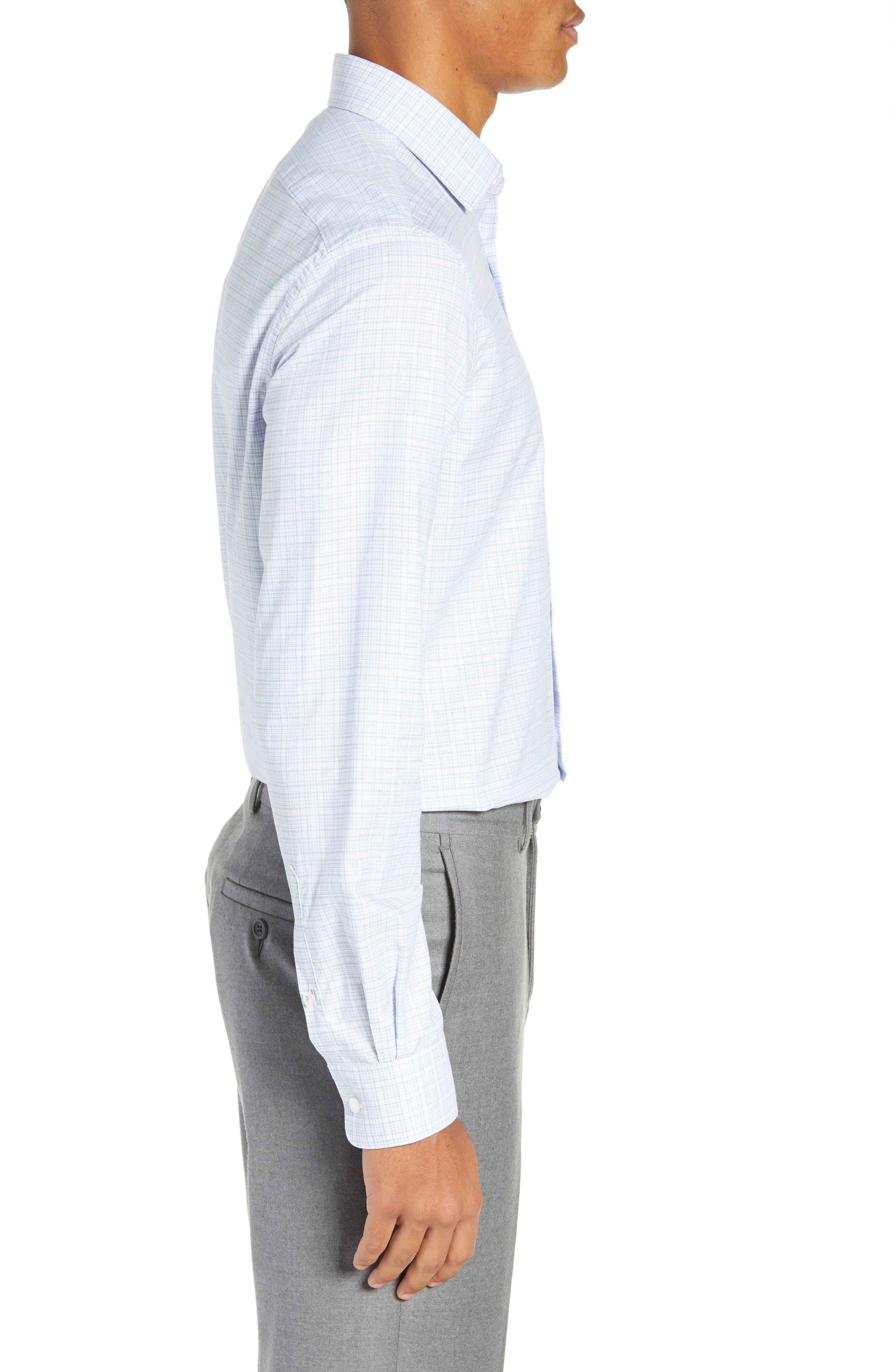 Regular Fit Plaid Dress Shirt,                             Alternate thumbnail 4, color,                             SKY BLUE