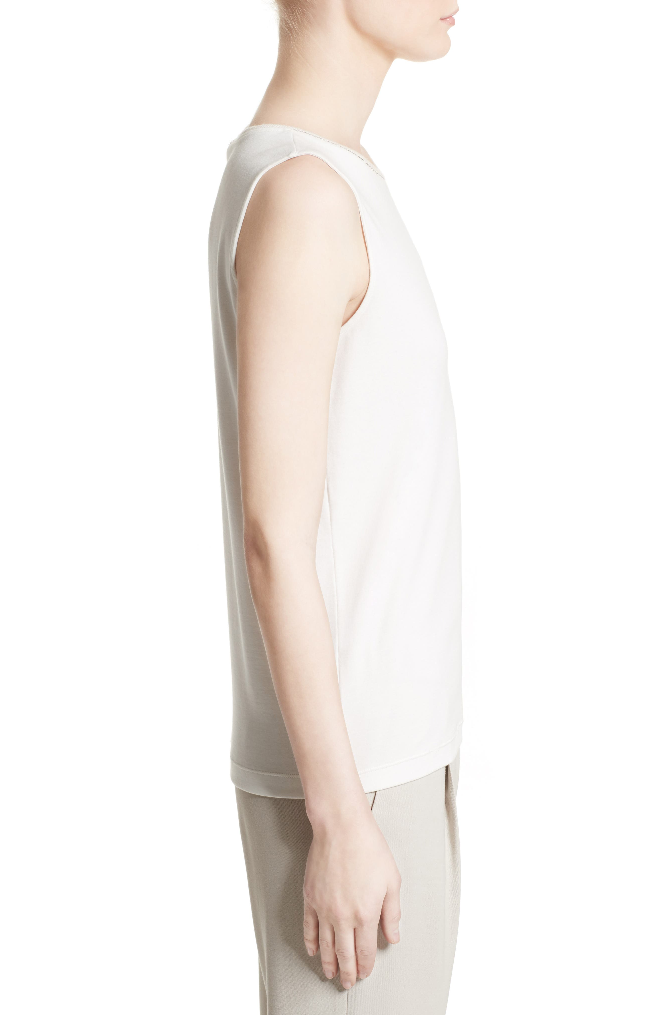 Beaded Stretch Cotton Tank,                             Alternate thumbnail 3, color,                             101