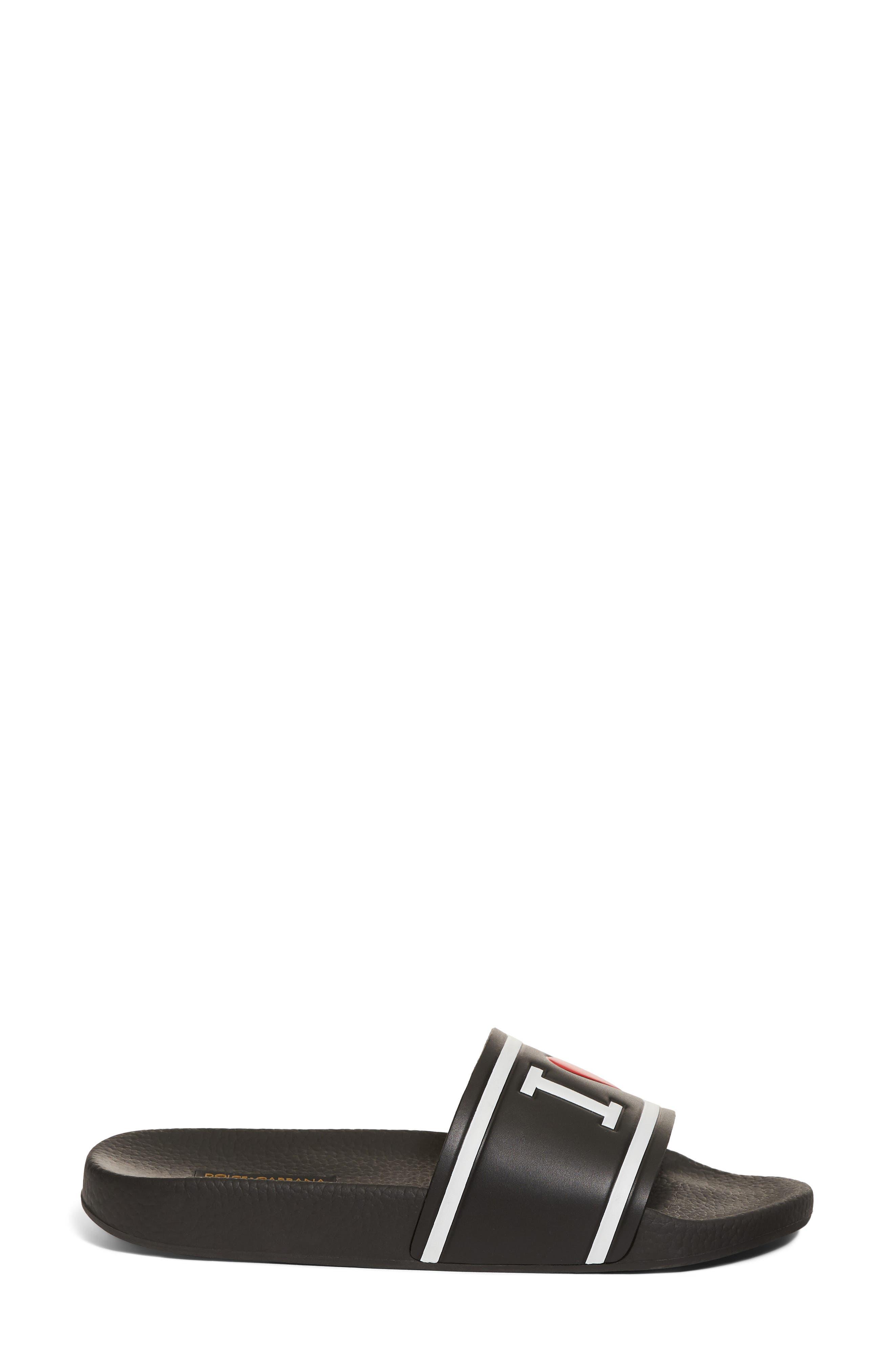 I Love DG Slide Sandal,                             Alternate thumbnail 3, color,                             BLACK