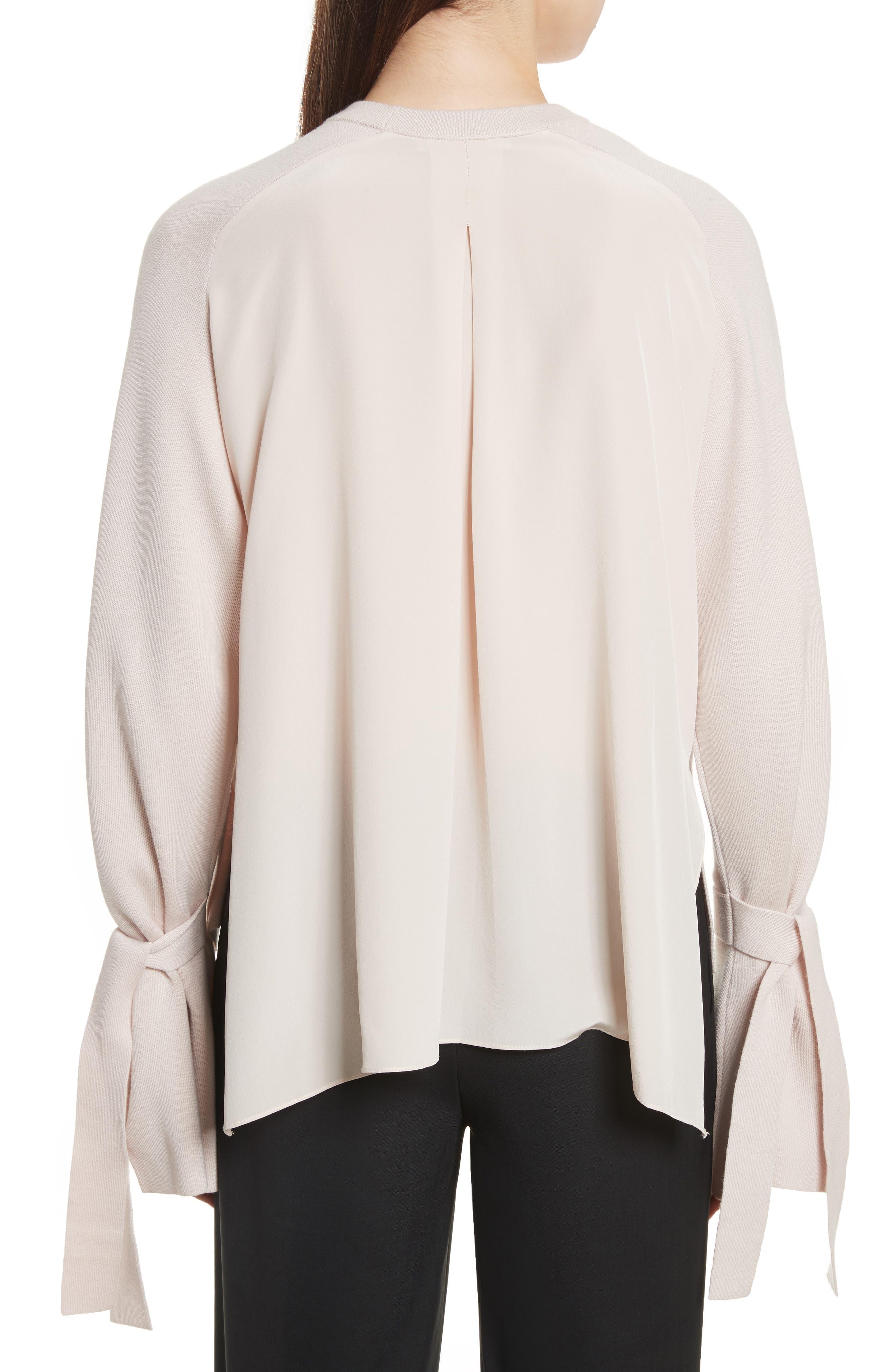 Merino Wool & Silk Bell Sleeve Pullover,                             Alternate thumbnail 4, color,