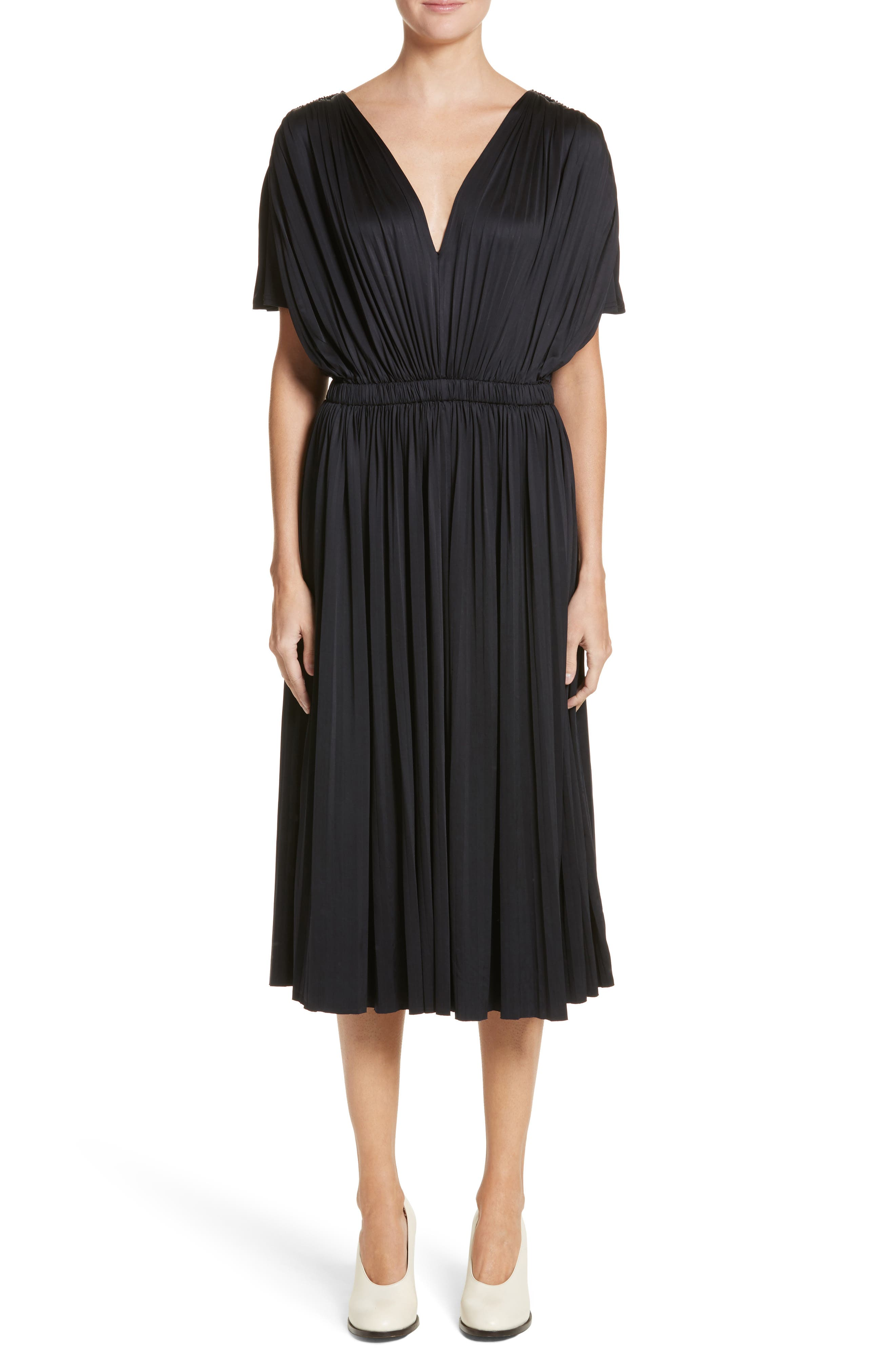 Fluid Jersey Dress,                             Main thumbnail 1, color,                             BLACK