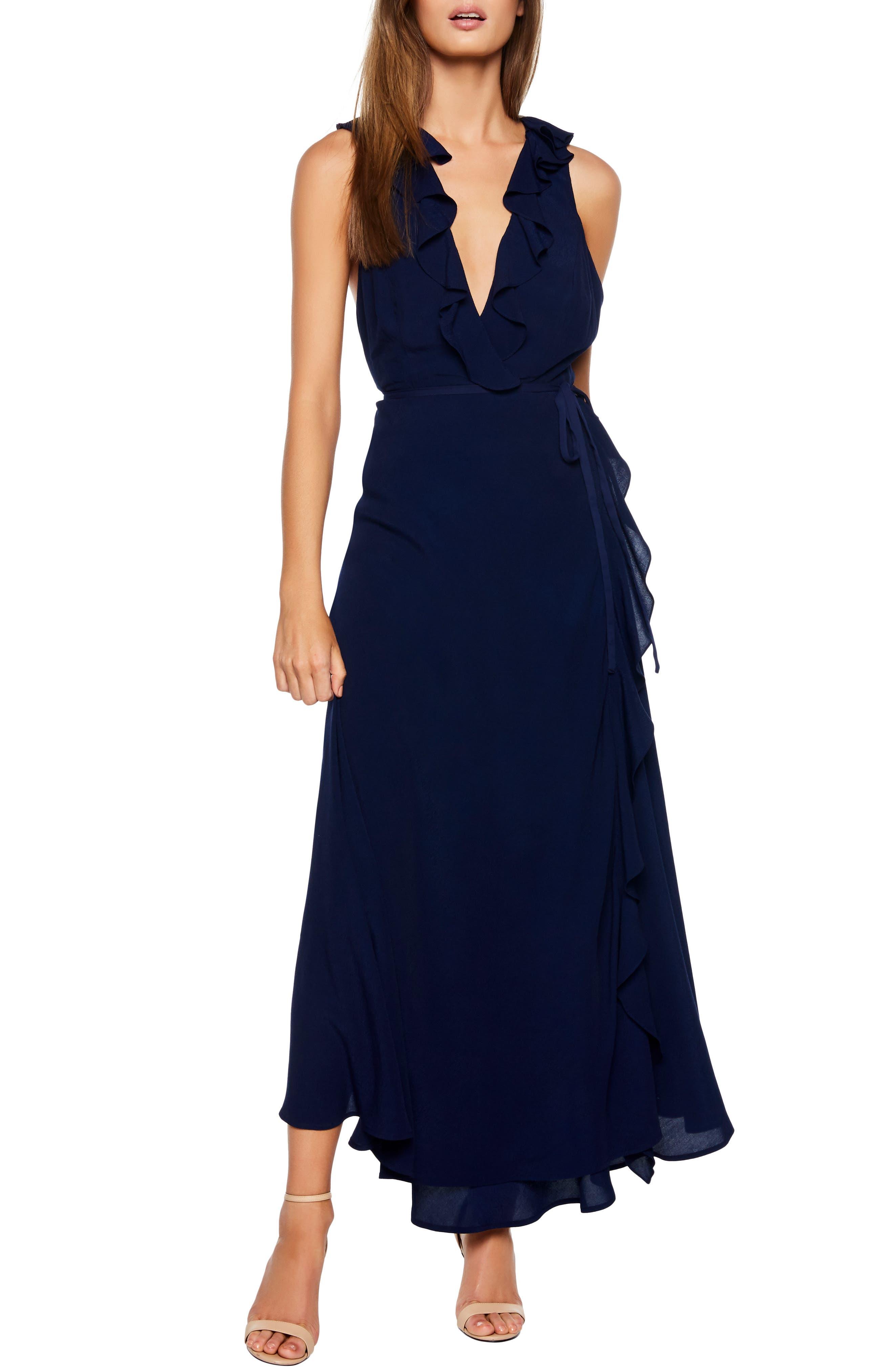 Bardot Alex Ruffle Maxi Dress, Blue