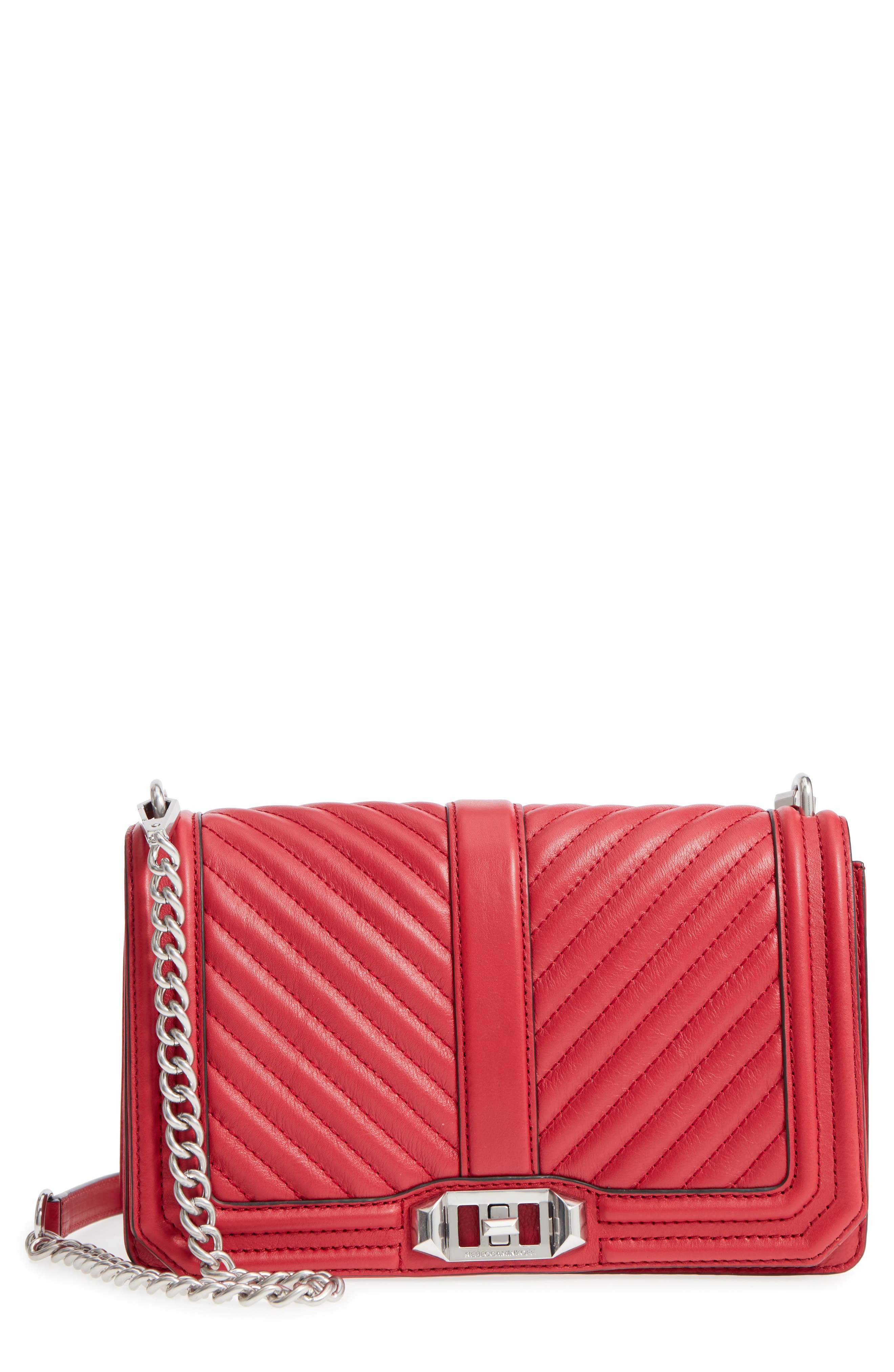 'Chevron Quilted Love' Crossbody Bag,                             Main thumbnail 11, color,