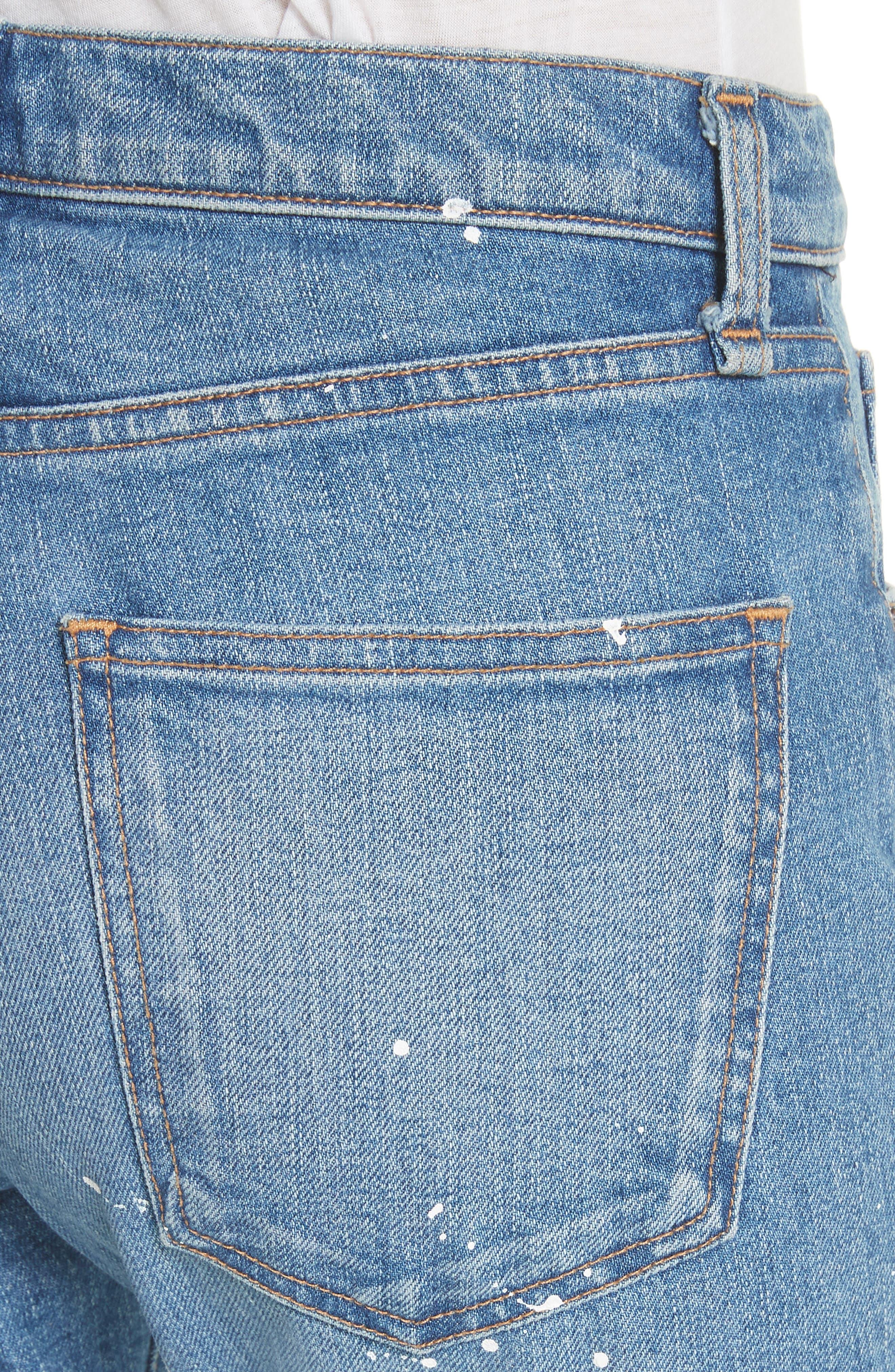 Ines Paint Splatter Crop Girlfriend Jeans,                             Alternate thumbnail 4, color,                             PIPELINE