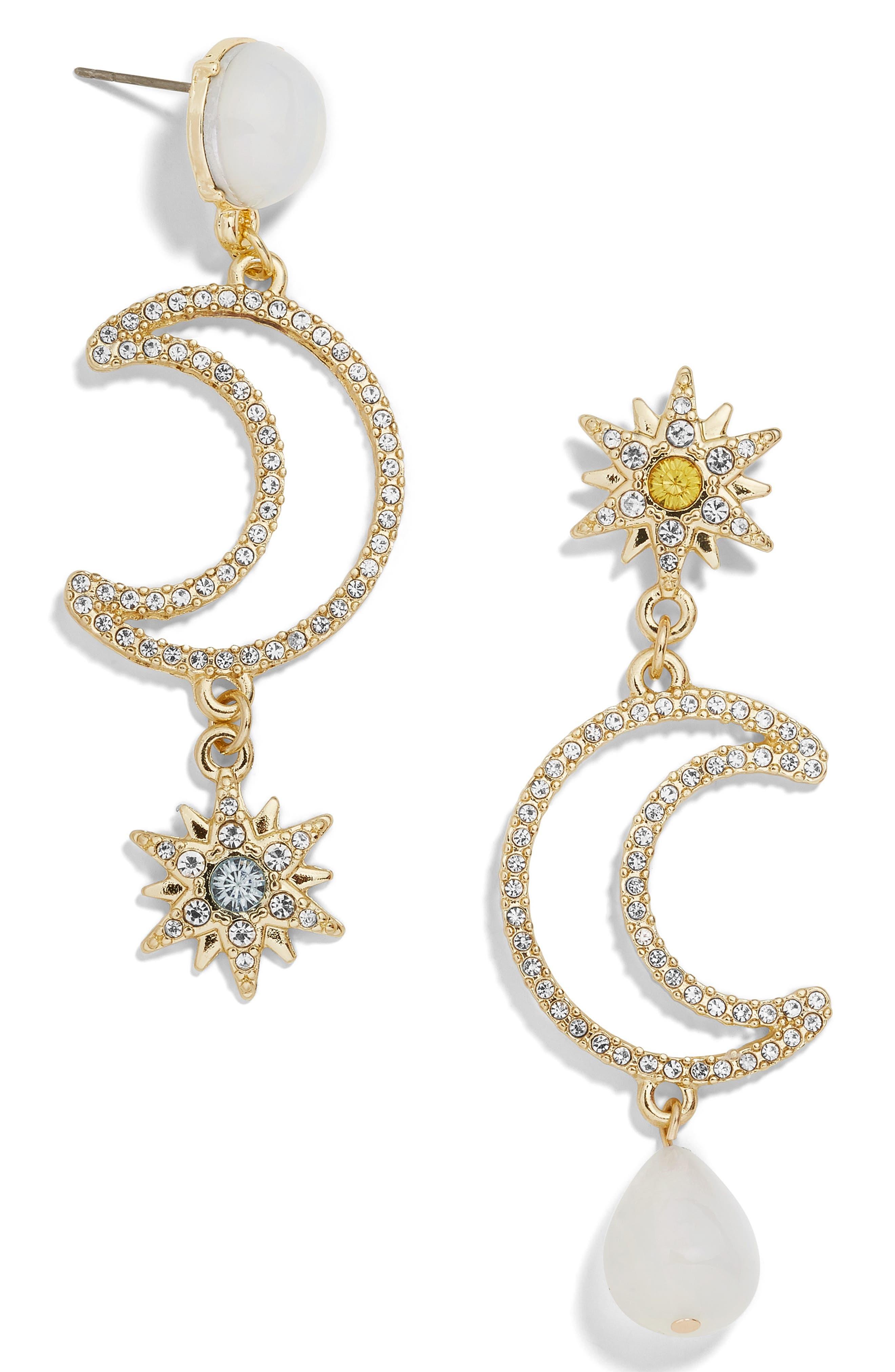 BAUBLEBAR Chiron Pavé Star & Moon Drop Earrings, Main, color, GOLD