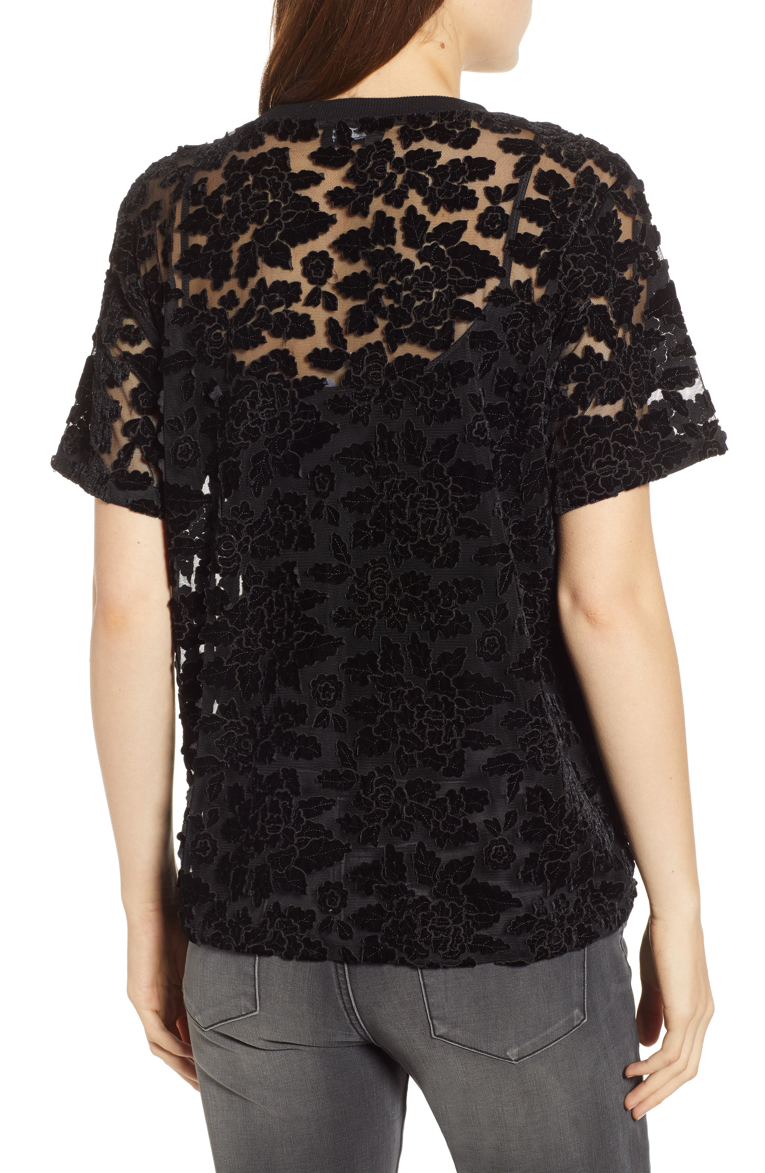 7 FOR ALL MANKIND<SUP>®</SUP>,                             Lace Top,                             Alternate thumbnail 2, color,                             BLACK