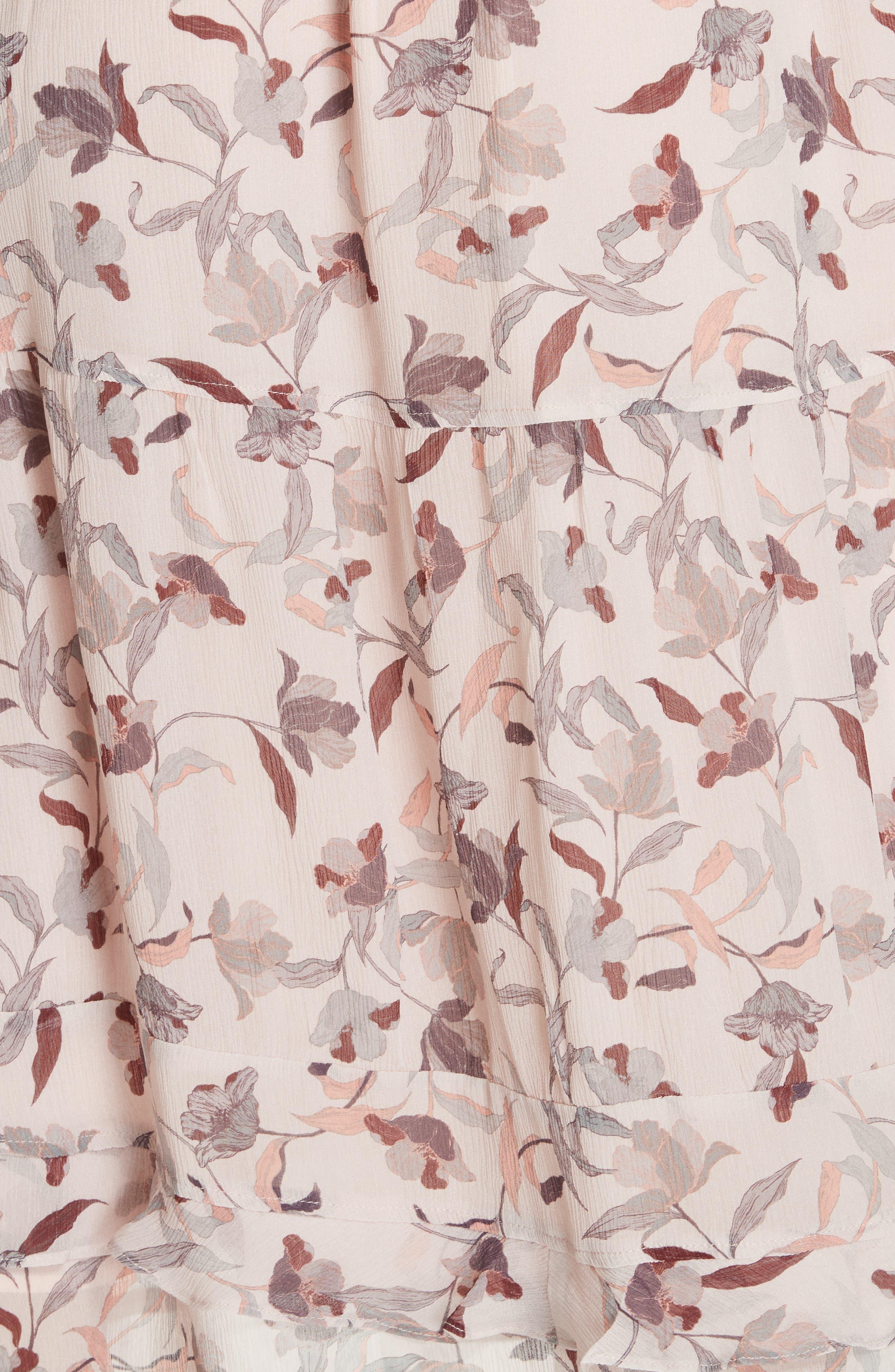 Frances Floral Silk Maxi Dress,                             Alternate thumbnail 6, color,                             FEATHER POPPY