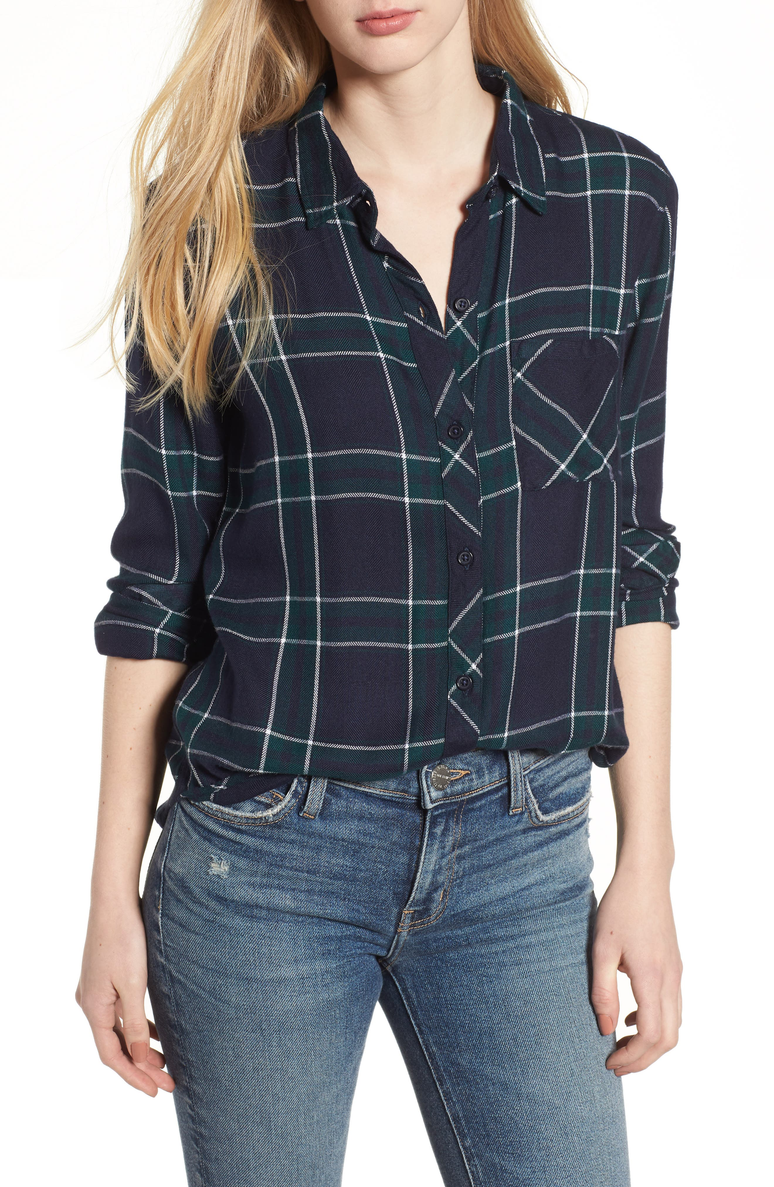 Hunter Plaid Shirt,                         Main,                         color, MIDNIGHT FOREST WHITE