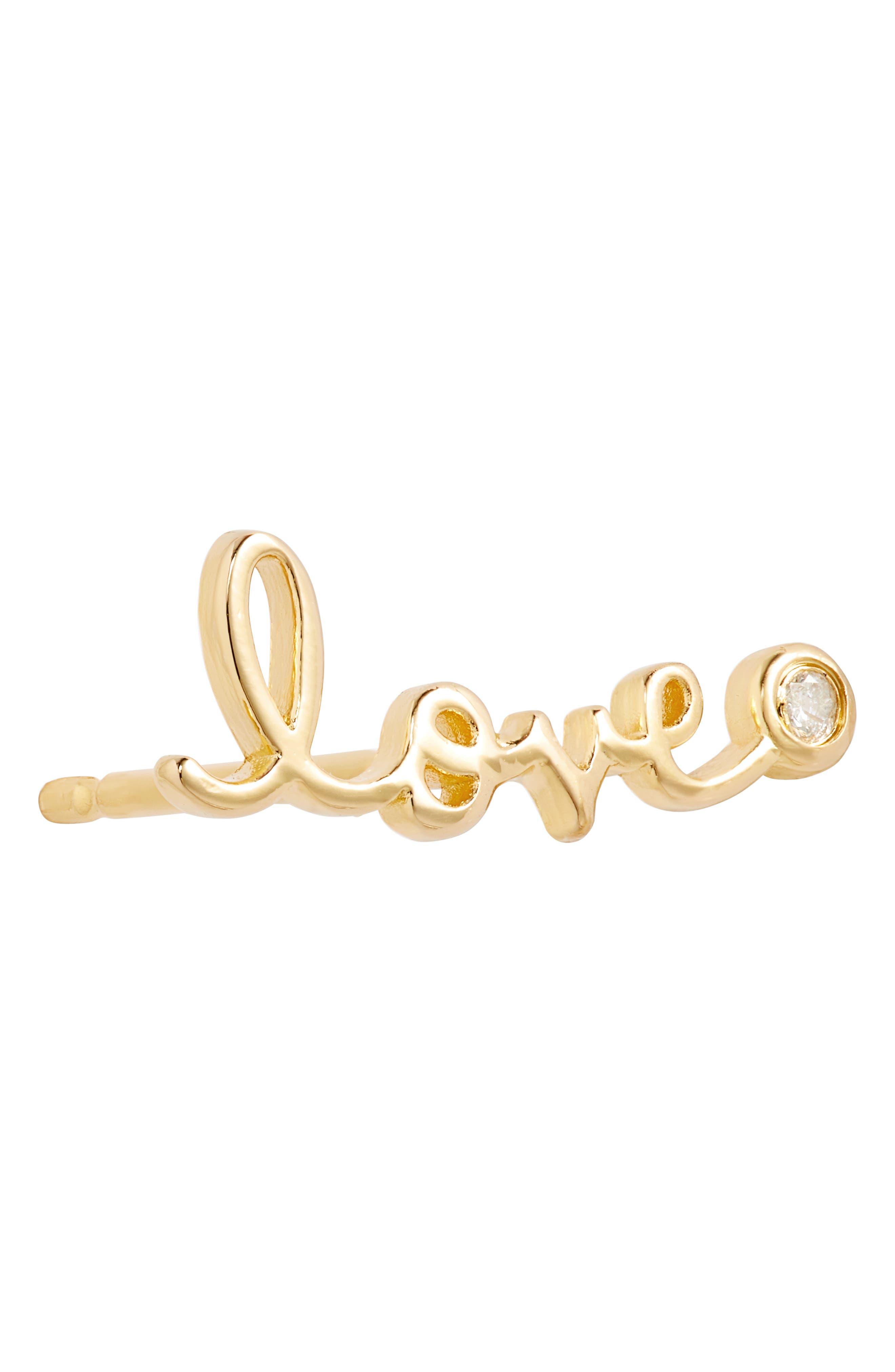 Love Diamond Stud Earrings,                             Alternate thumbnail 6, color,                             GOLD