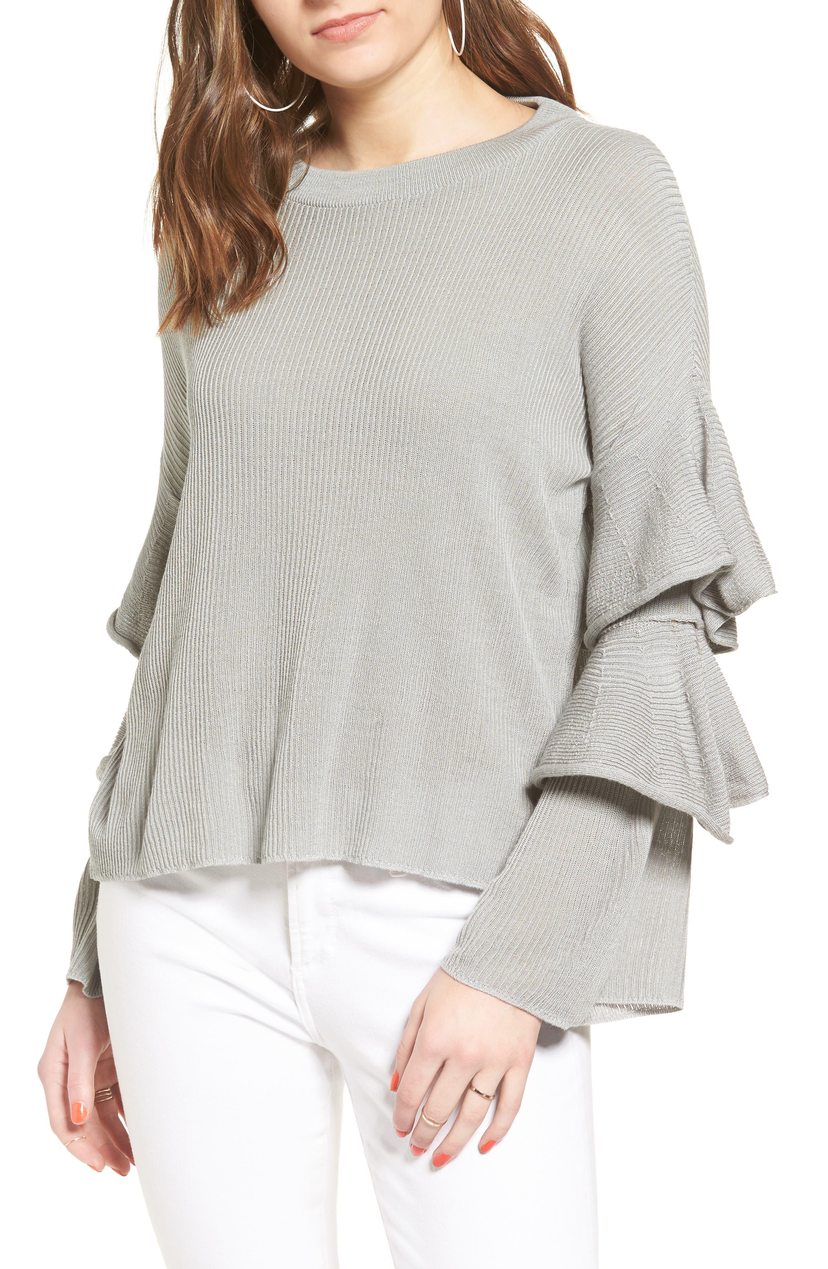 Ruffle Sleeve Sweater,                             Main thumbnail 1, color,                             034