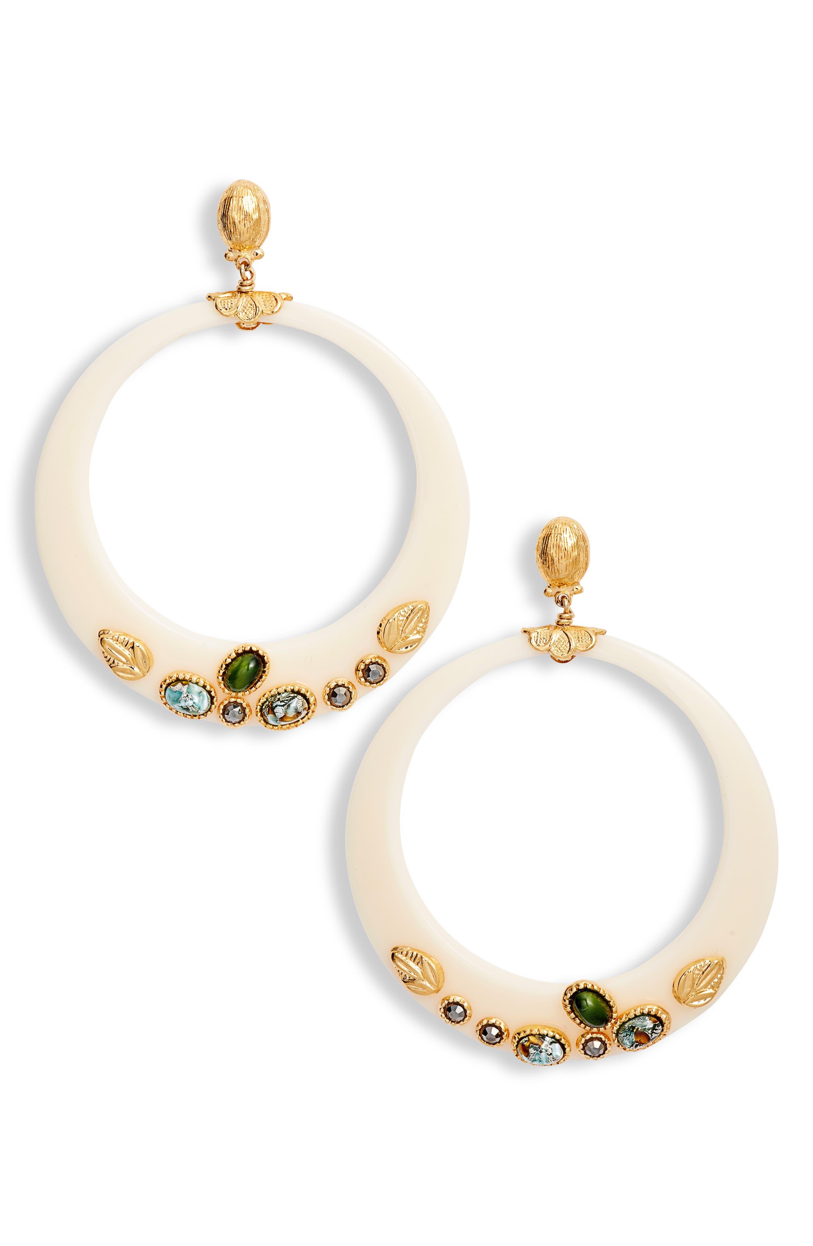 Lodge Hoop Earrings,                         Main,                         color, WHITE