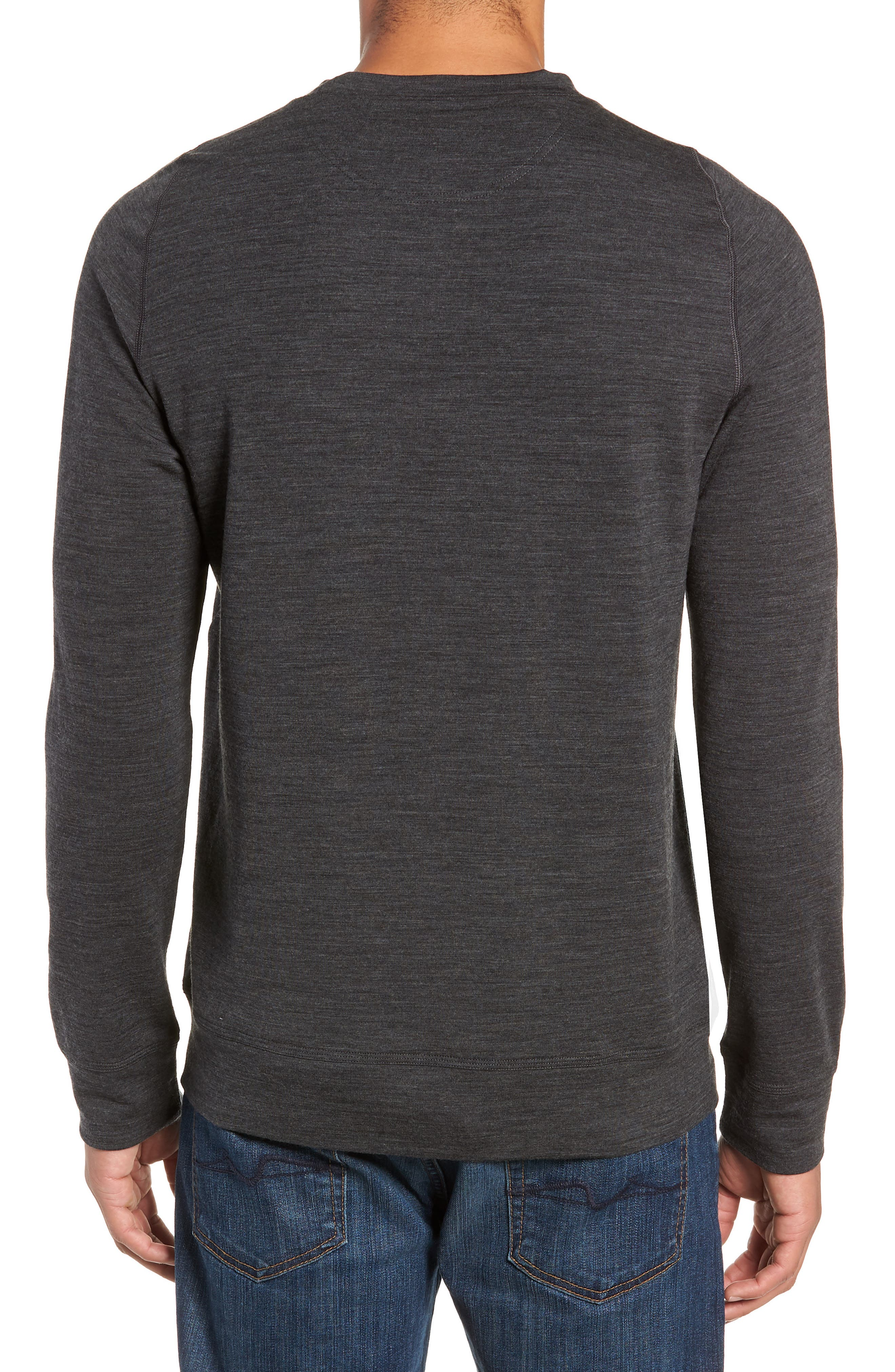 Shifter Merino Wool Blend Crewneck Sweater,                             Alternate thumbnail 2, color,                             JET HEATHER