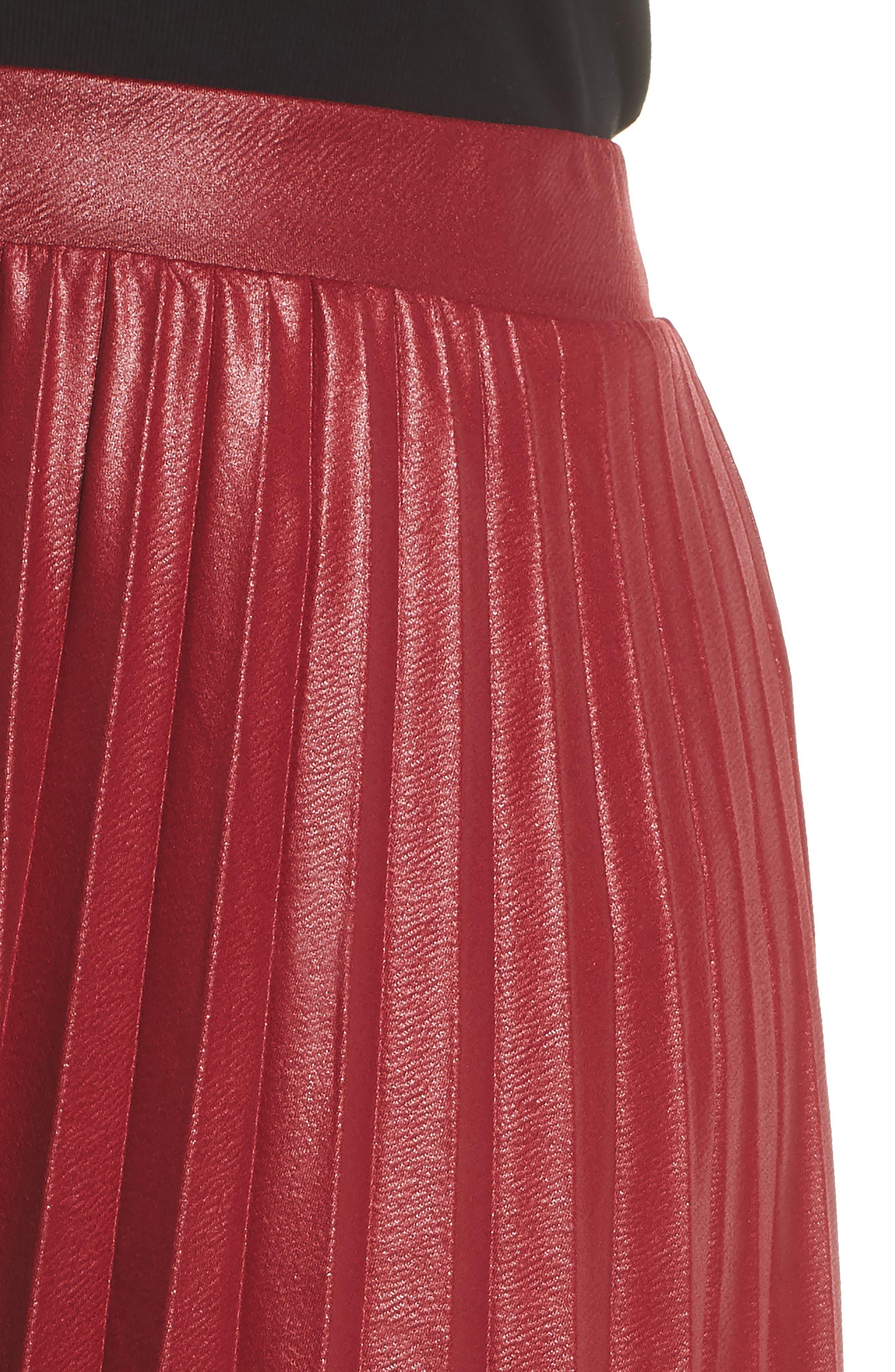 Coated Pleated Midi Skirt,                             Alternate thumbnail 4, color,                             OXBLOOD