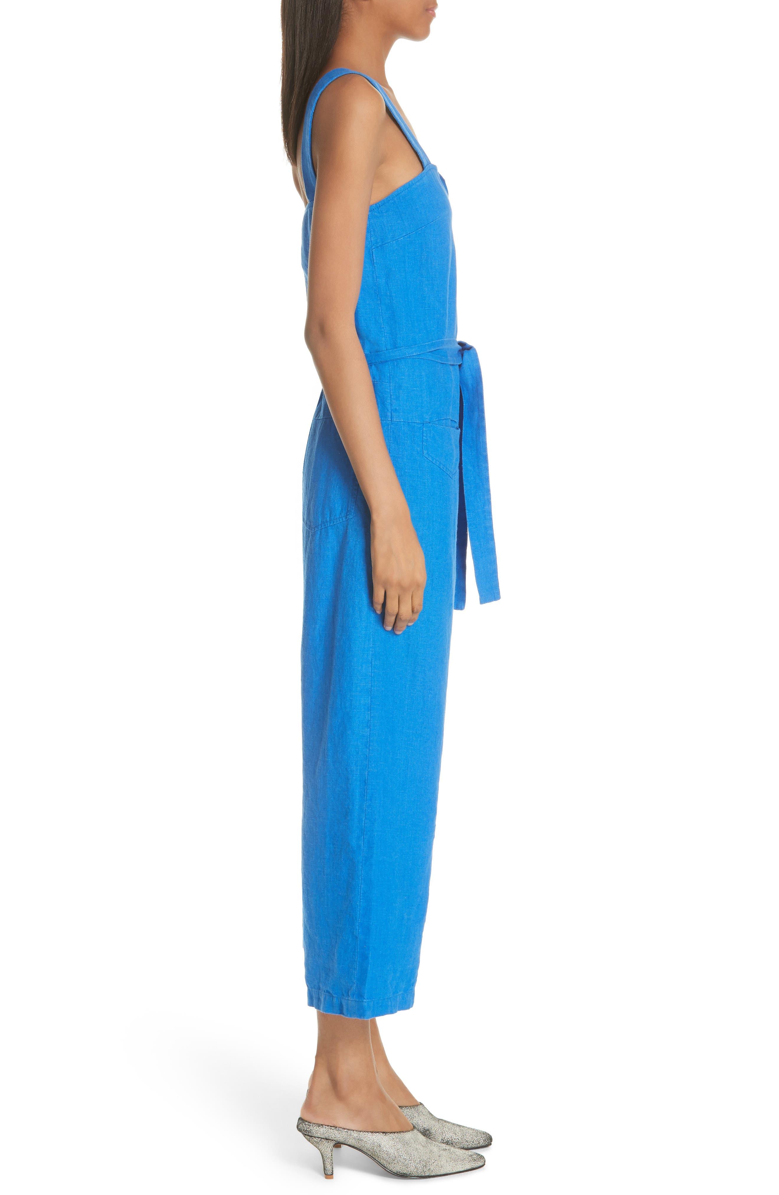 Bend Linen Jumpsuit,                             Alternate thumbnail 3, color,                             LAPIS