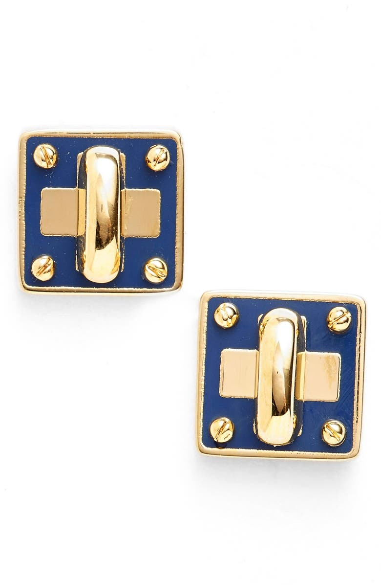 Marc By Jacobs Turnlock Enamel Stud Earrings