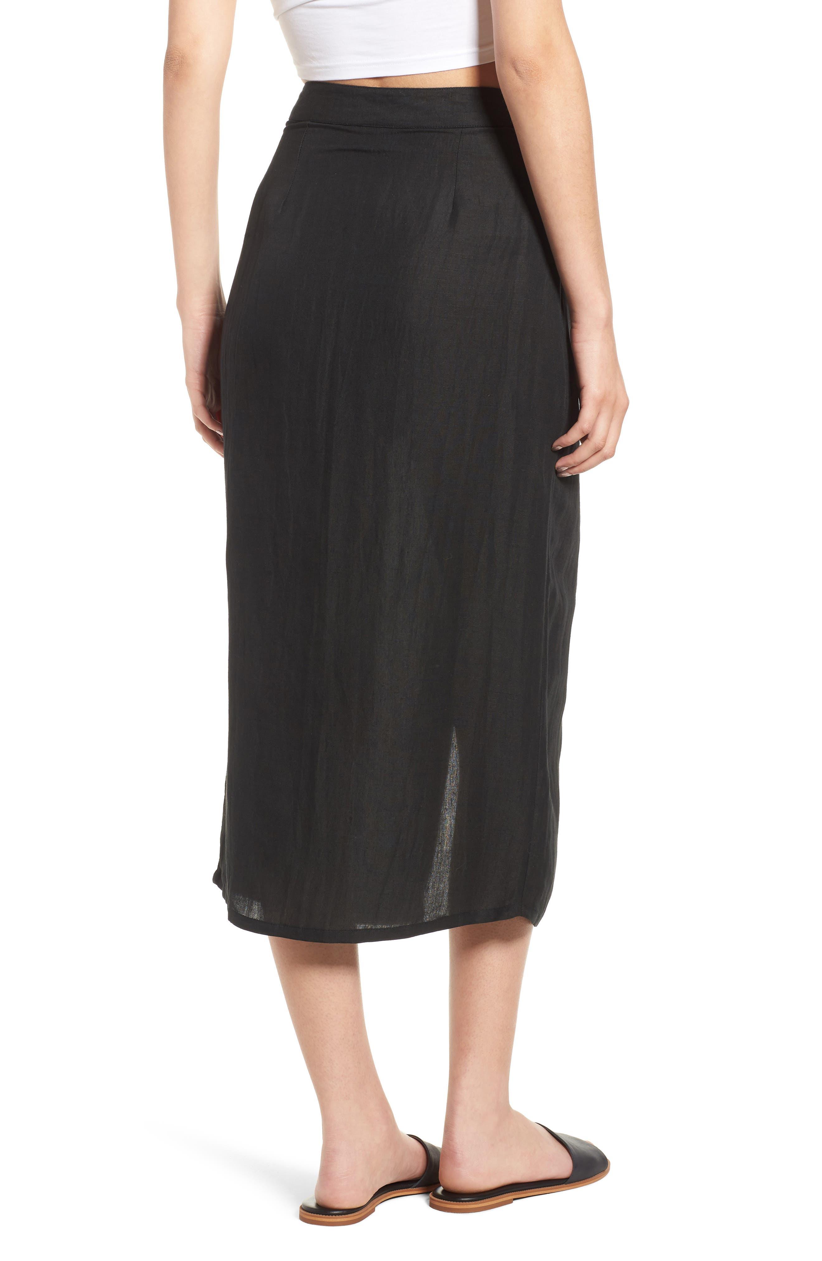 Linen Blend Midi Skirt,                             Alternate thumbnail 2, color,                             001