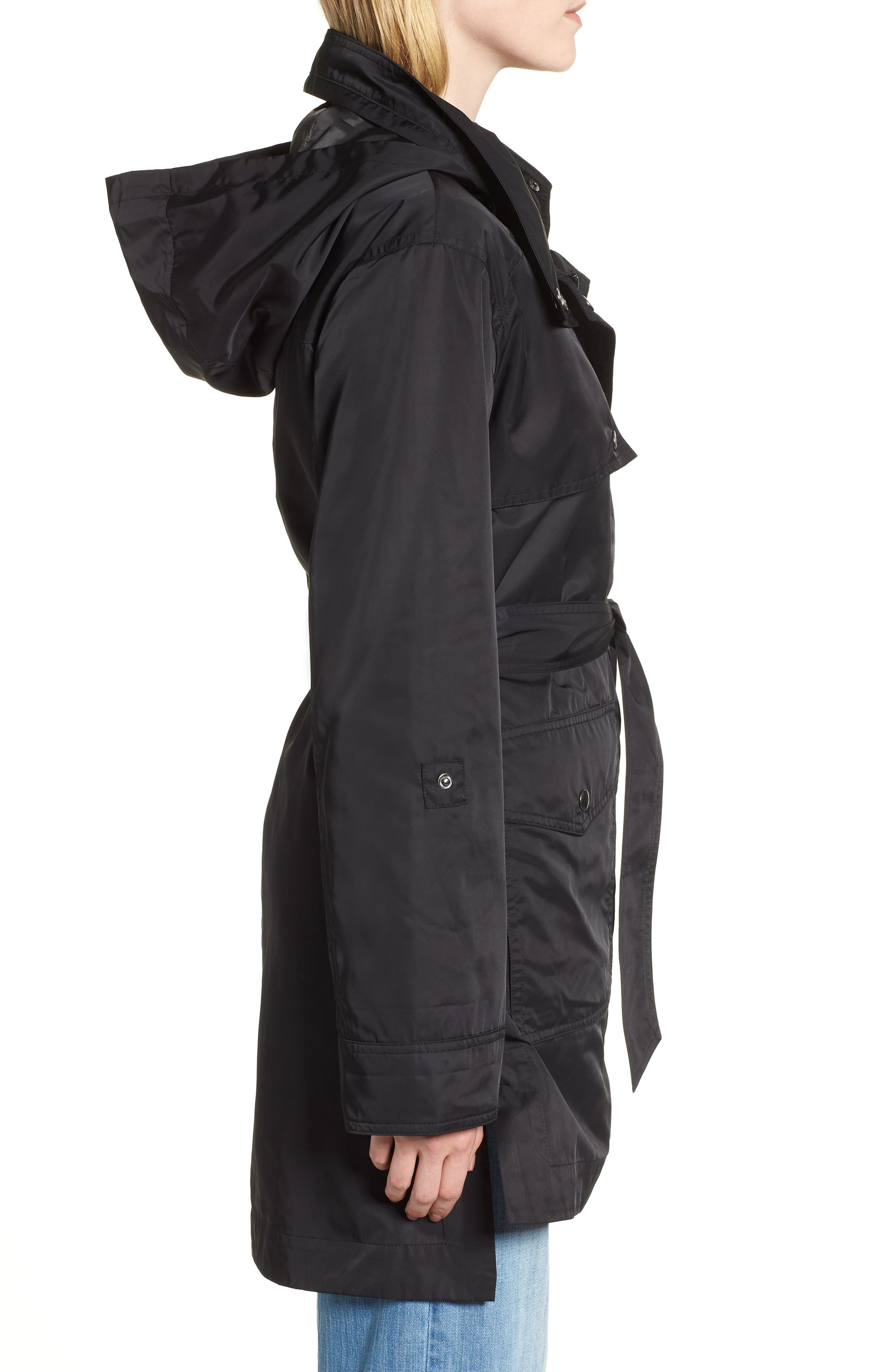 HALOGEN<SUP>®</SUP>,                             Lightweight Trench Coat,                             Alternate thumbnail 3, color,                             BLACK