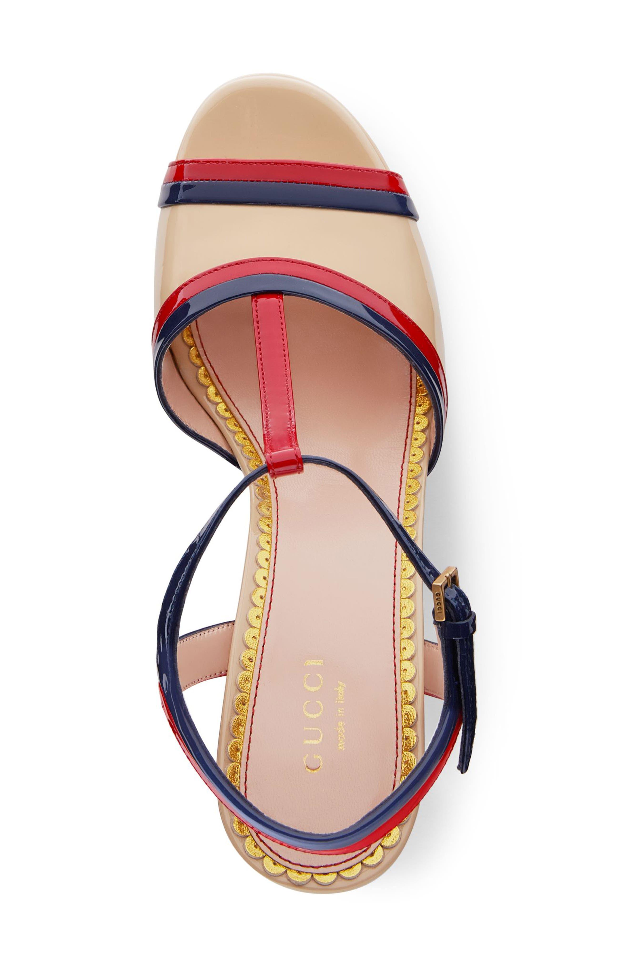 Millie T-Strap Platform Sandal,                             Alternate thumbnail 4, color,                             BEIGE/ RED/ BLUE