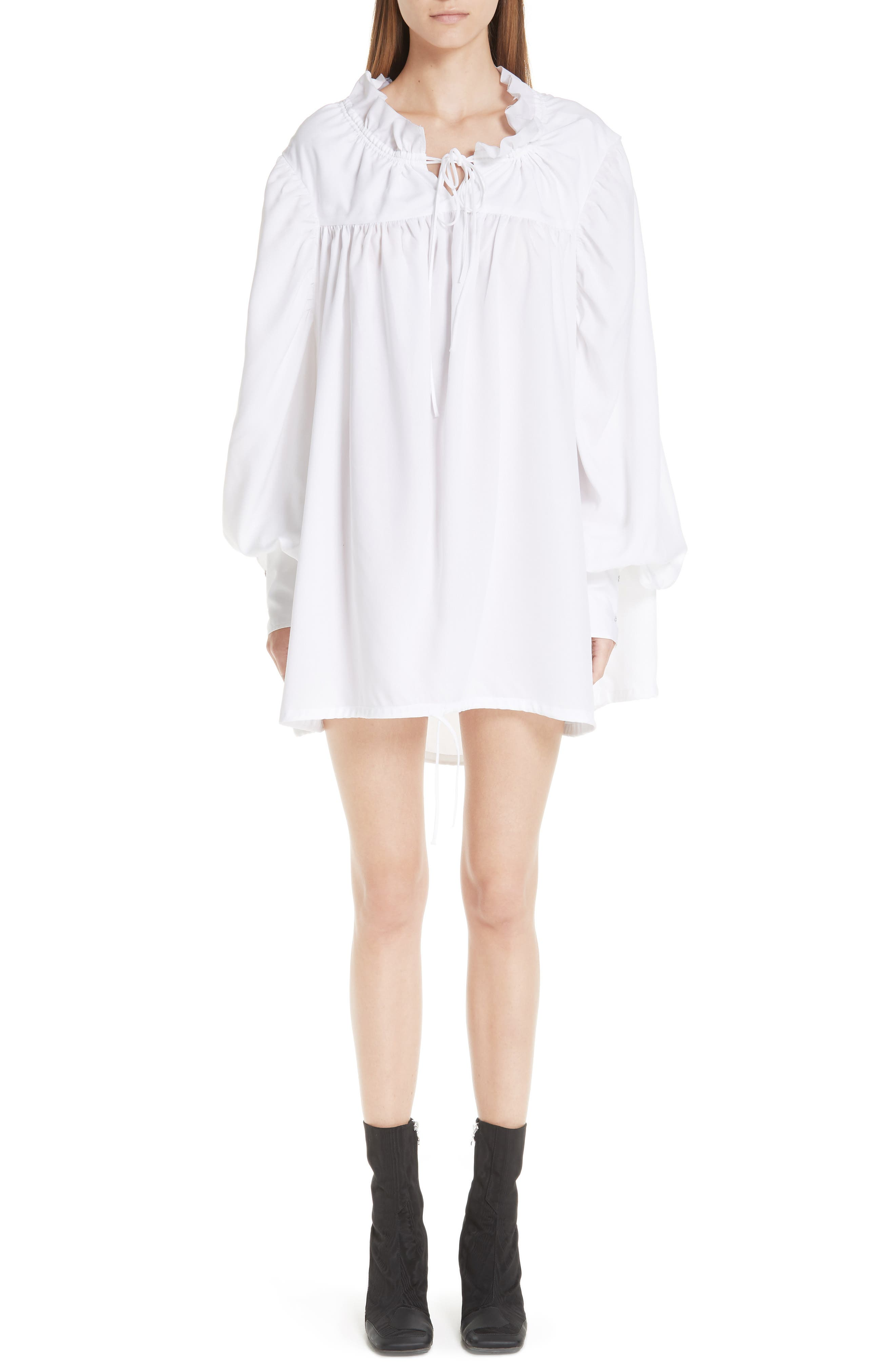Marques'Almeida Gathered Yoke Shirt,                         Main,                         color, WHITE