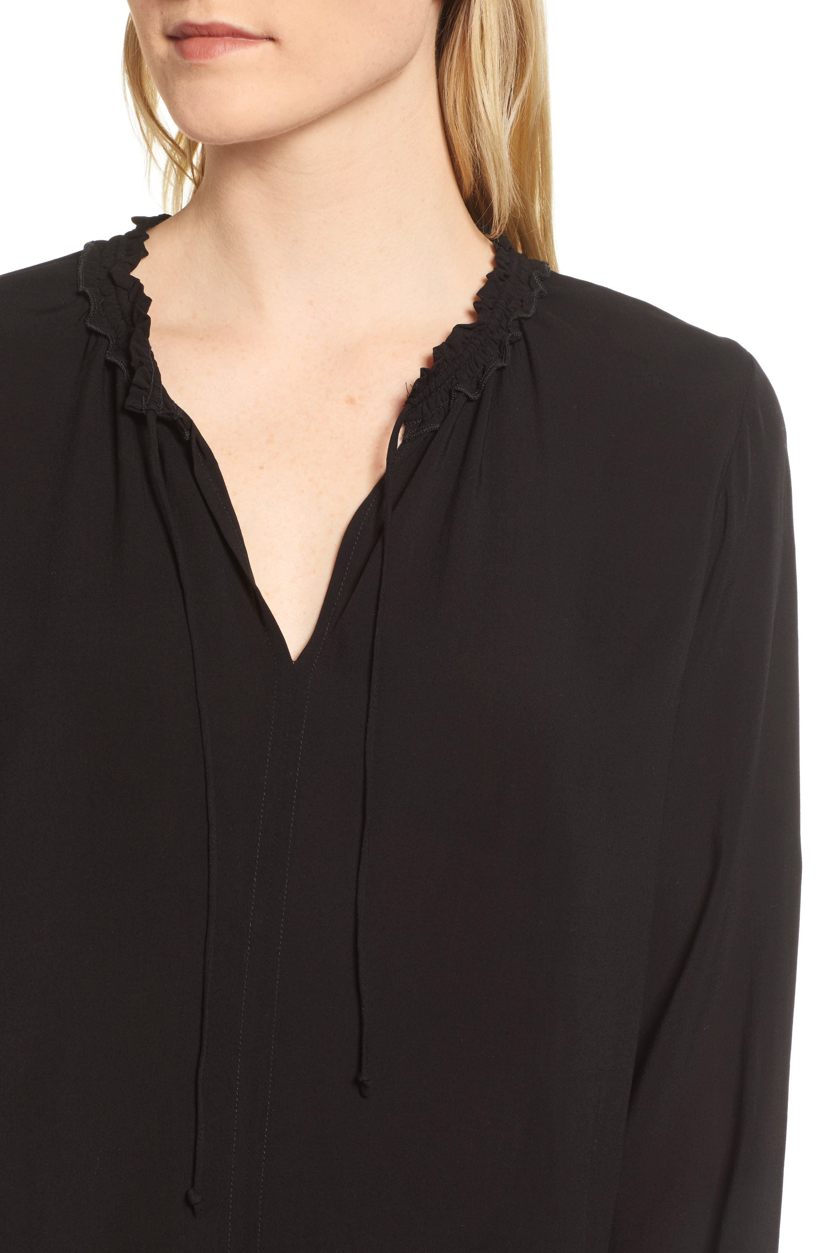 Ruffle Tie Neck Top,                             Alternate thumbnail 4, color,                             001