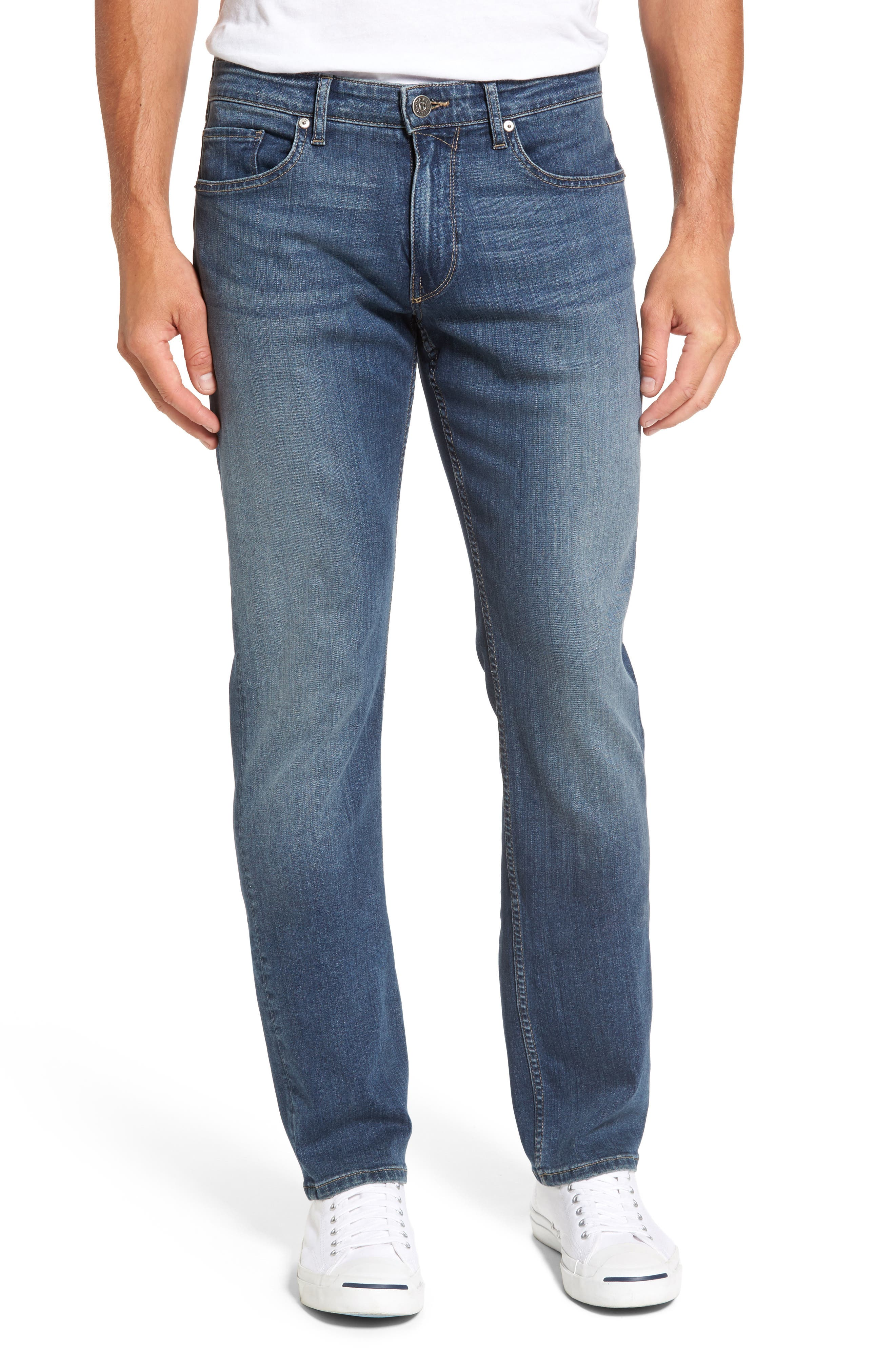 PAIGE Normandie Straight Fit Jeans, Main, color, ALMONT