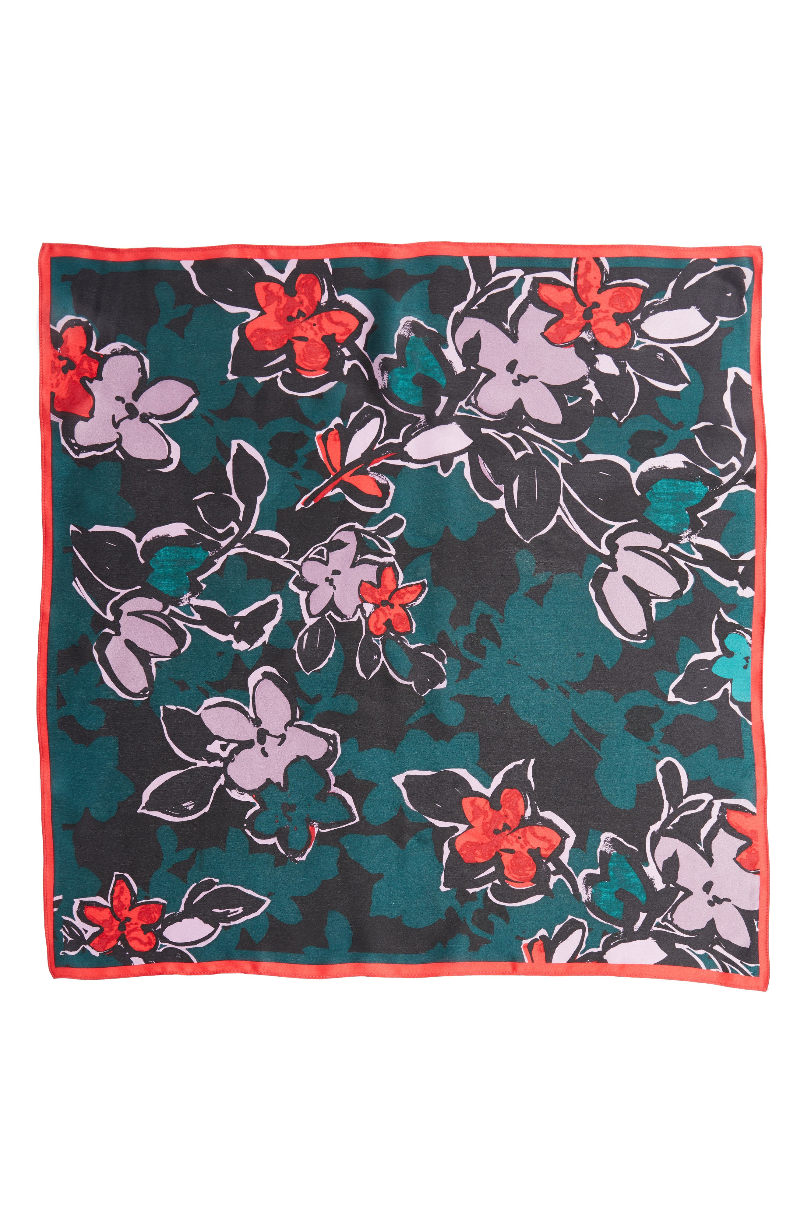 Bloom Floral Silk Square Scarf,                             Alternate thumbnail 4, color,