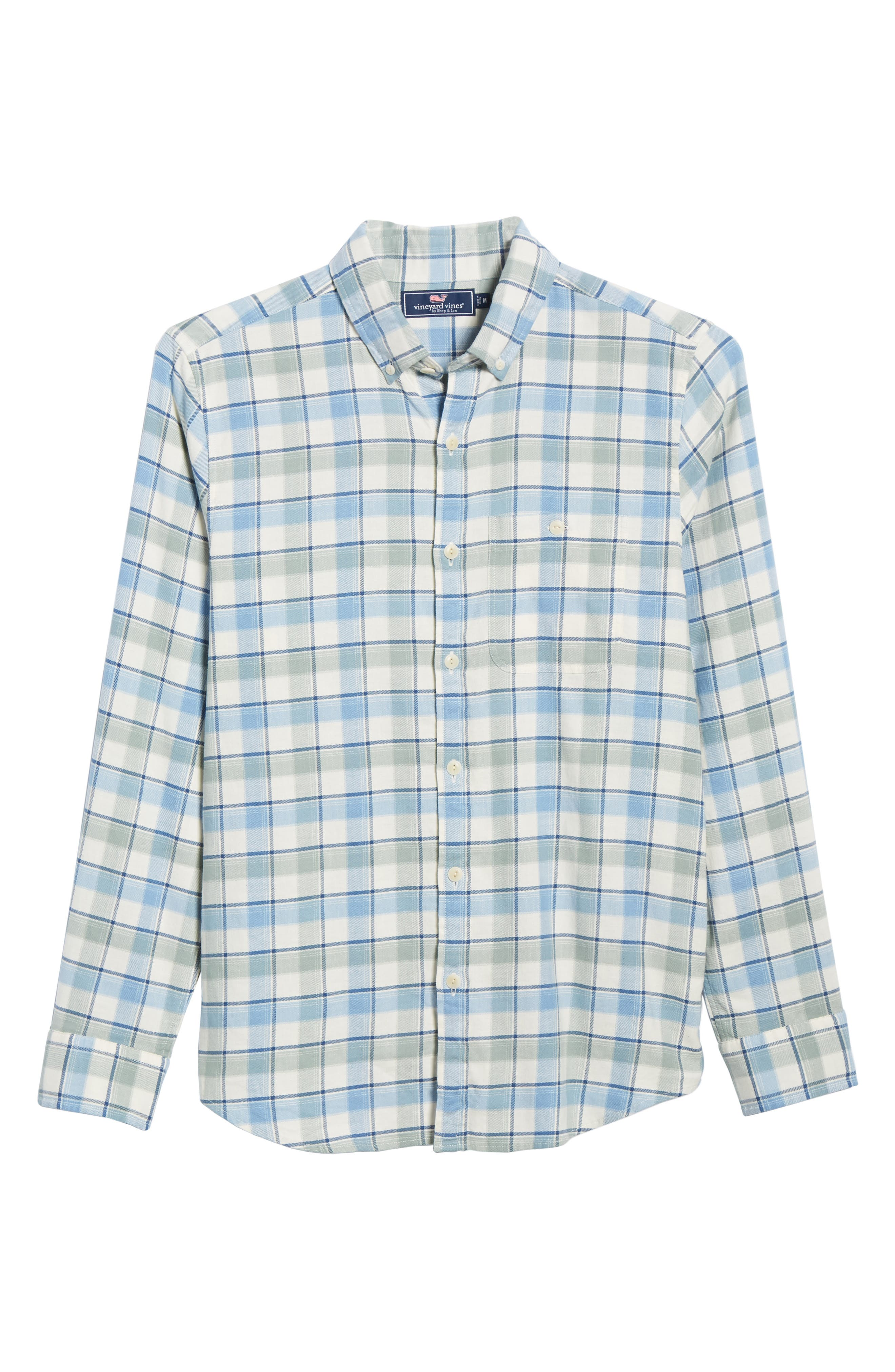 VINEYARD VINES,                             Bayside Slim Fit Plaid Sport Shirt,                             Alternate thumbnail 5, color,                             LIGHT SAGE