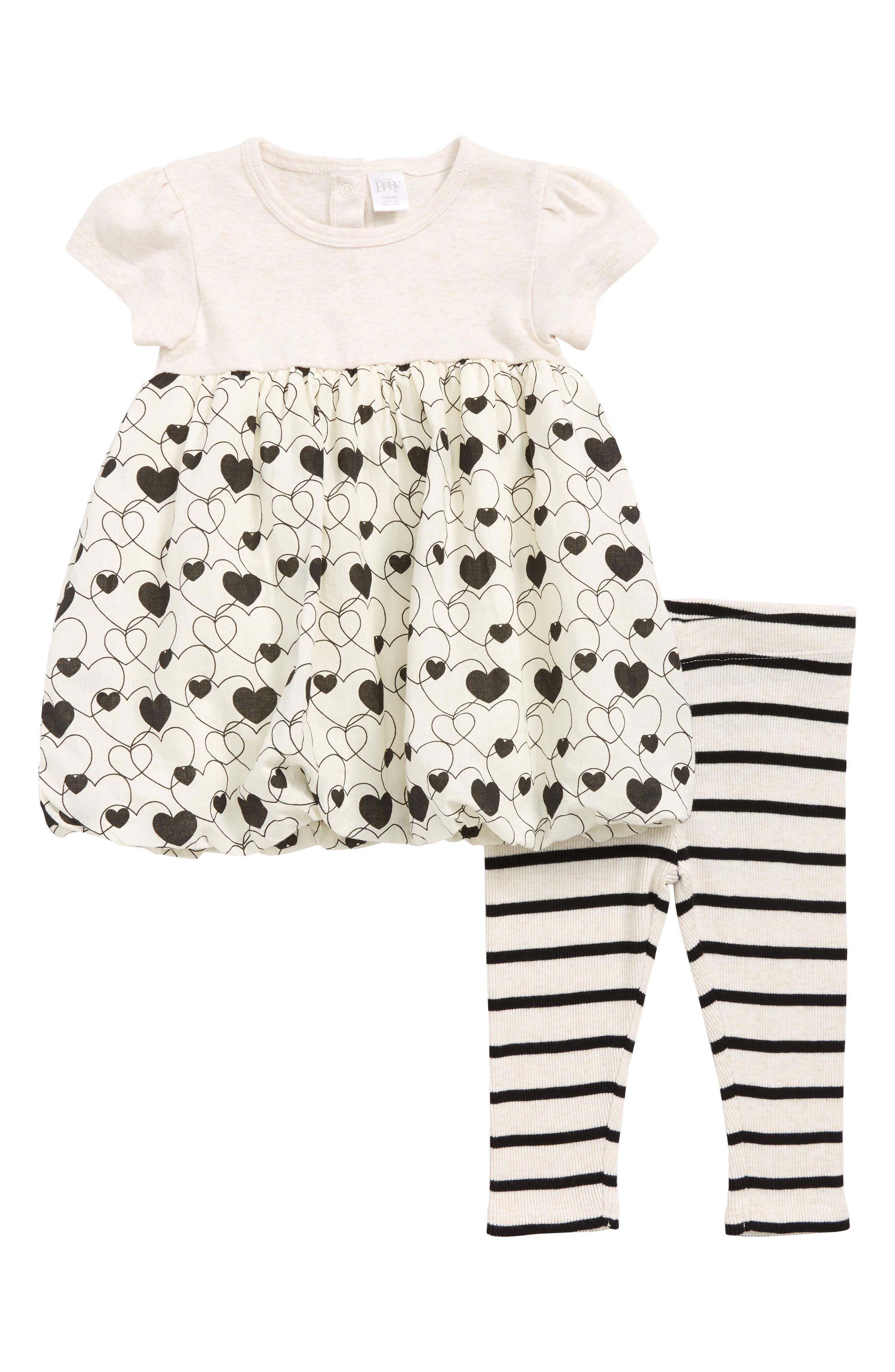 Dress & Leggings Set,                         Main,                         color, IVORY VANILLA HEARTS